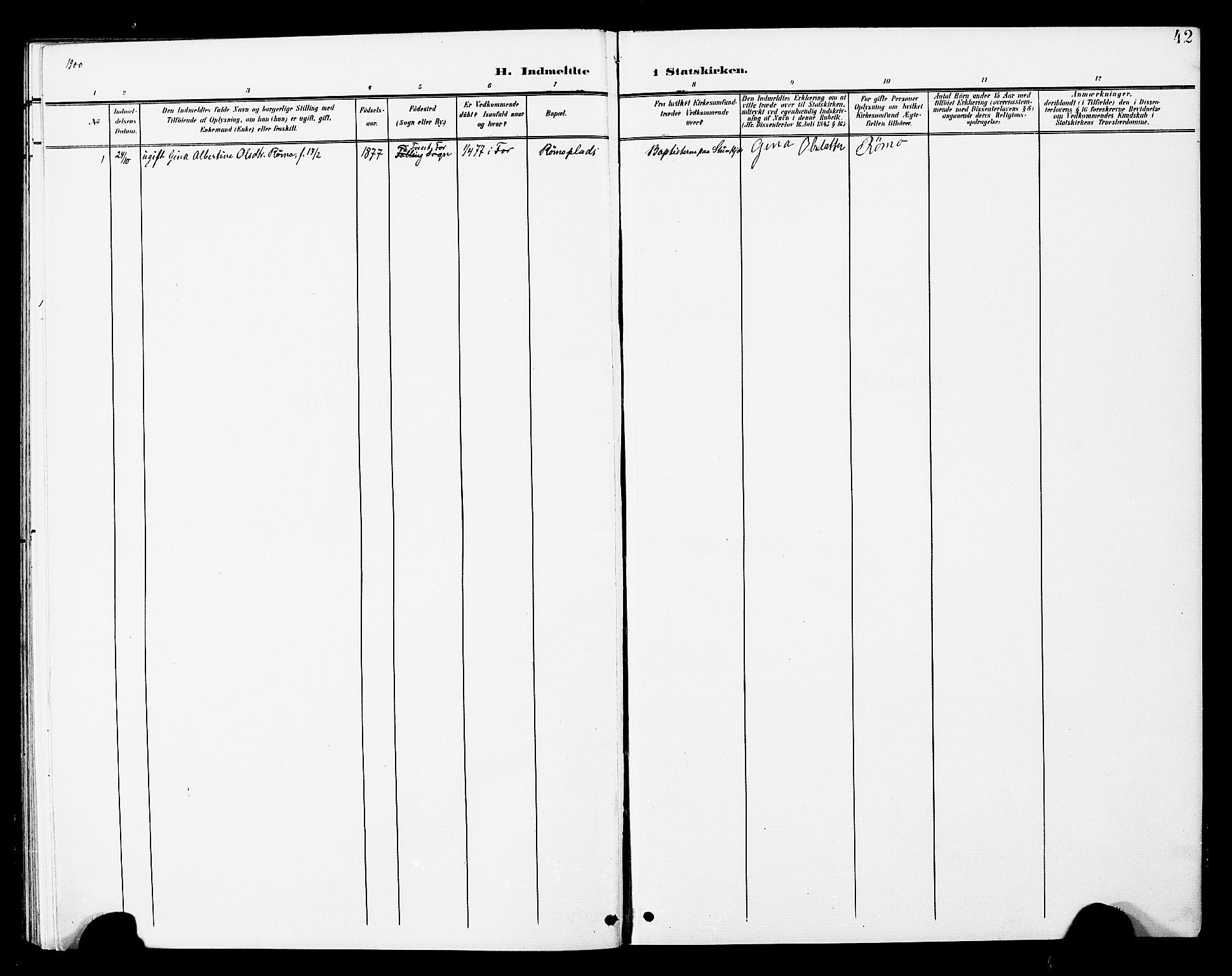 SAT, Ministerialprotokoller, klokkerbøker og fødselsregistre - Nord-Trøndelag, 748/L0464: Ministerialbok nr. 748A01, 1900-1908, s. 42