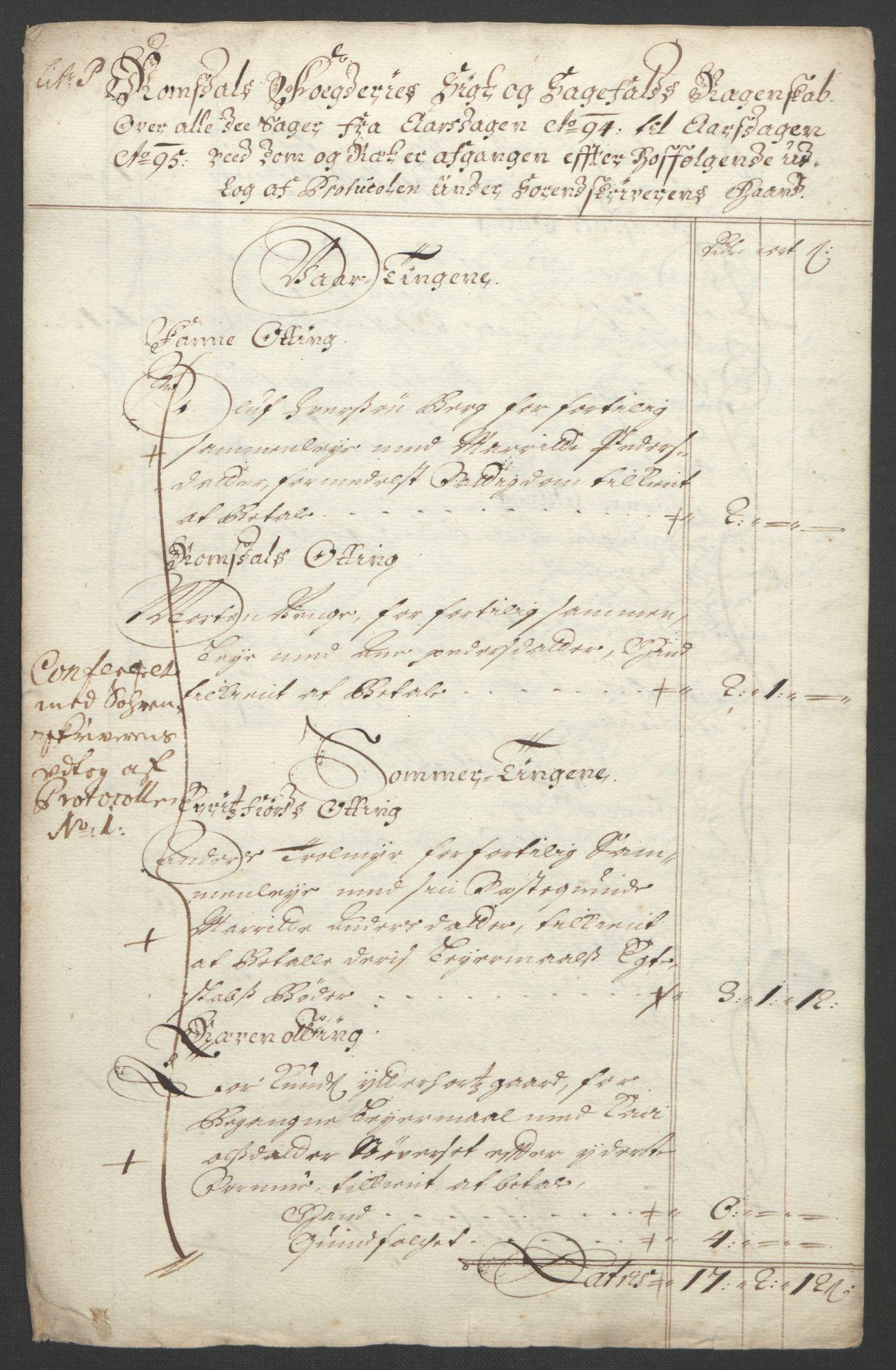 RA, Rentekammeret inntil 1814, Reviderte regnskaper, Fogderegnskap, R55/L3651: Fogderegnskap Romsdal, 1693-1694, s. 288