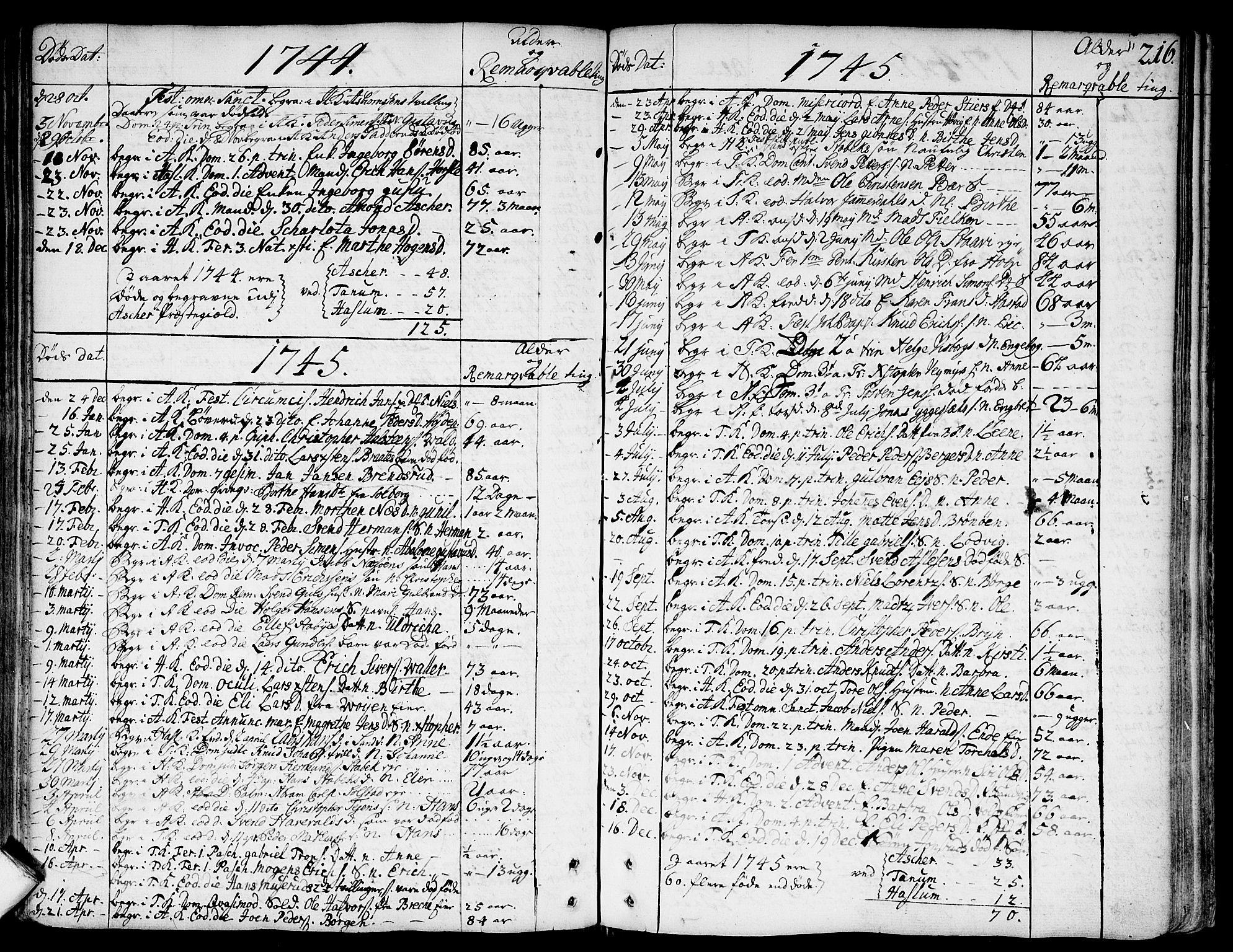 SAO, Asker prestekontor Kirkebøker, F/Fa/L0002: Ministerialbok nr. I 2, 1733-1766, s. 216