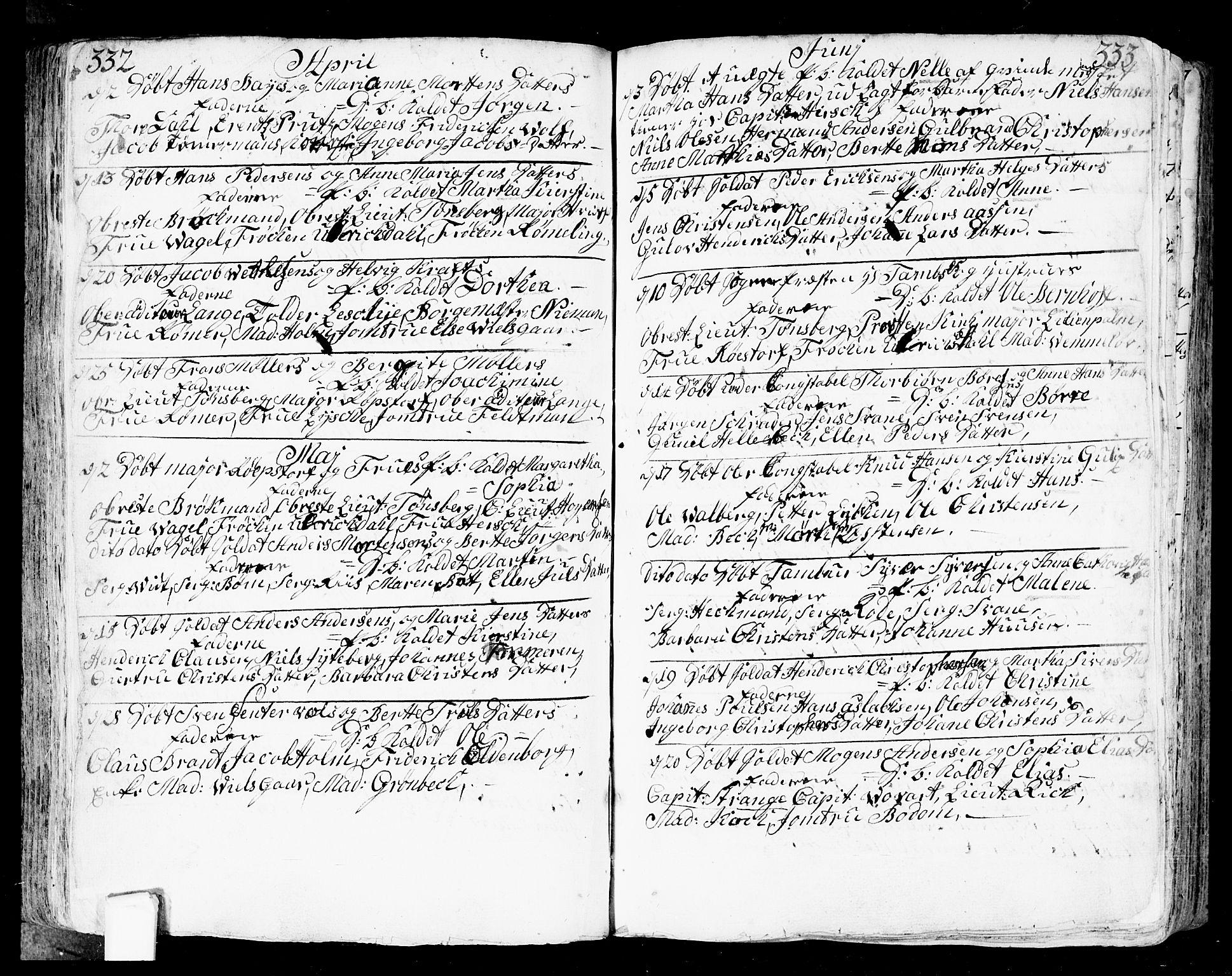 SAO, Fredrikstad prestekontor Kirkebøker, F/Fa/L0002: Ministerialbok nr. 2, 1750-1804, s. 332-333