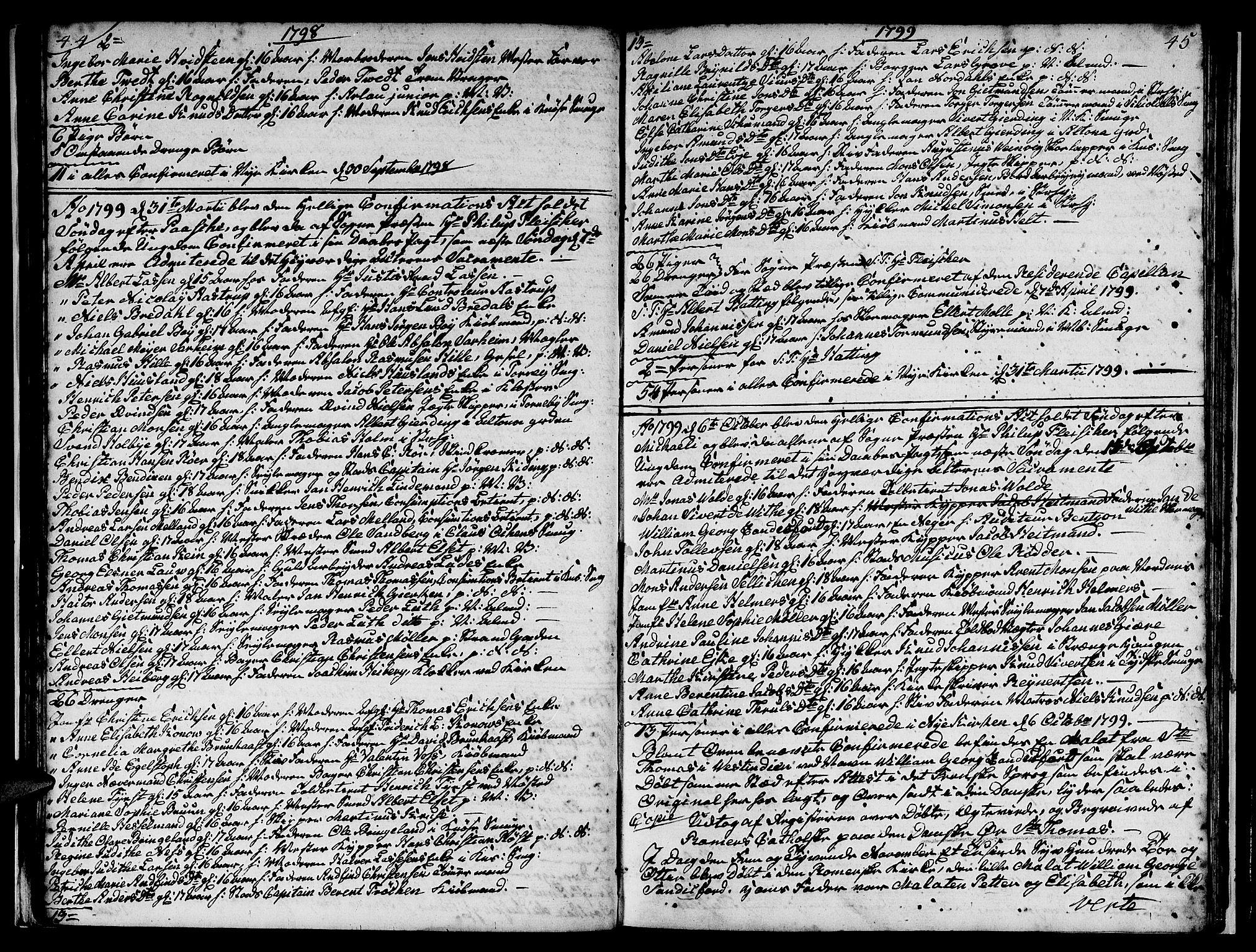 SAB, Nykirken Sokneprestembete, H/Hab: Klokkerbok nr. A 1, 1770-1821, s. 44-45