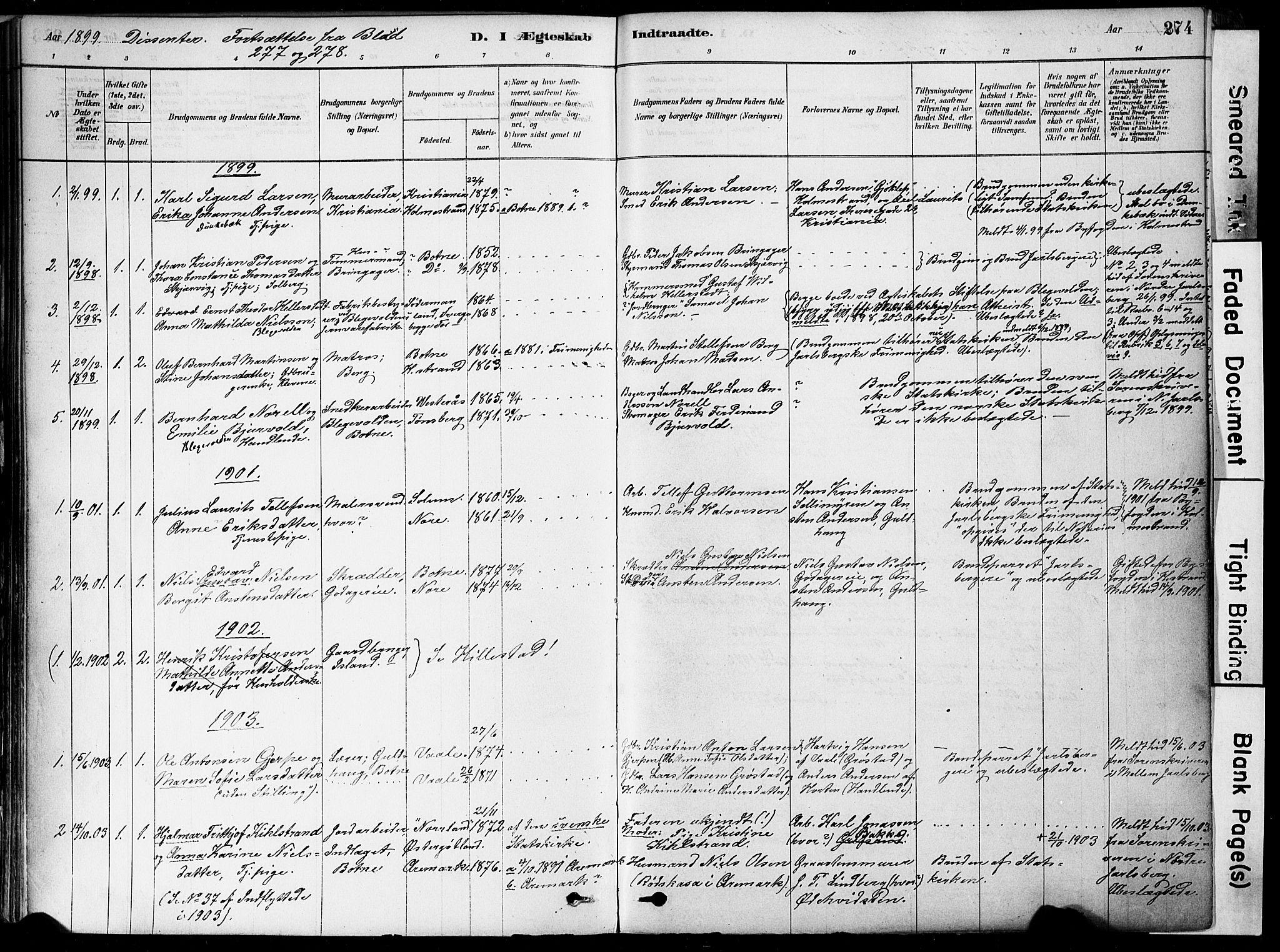 SAKO, Botne kirkebøker, F/Fa/L0007: Ministerialbok nr. I 7, 1878-1910, s. 274