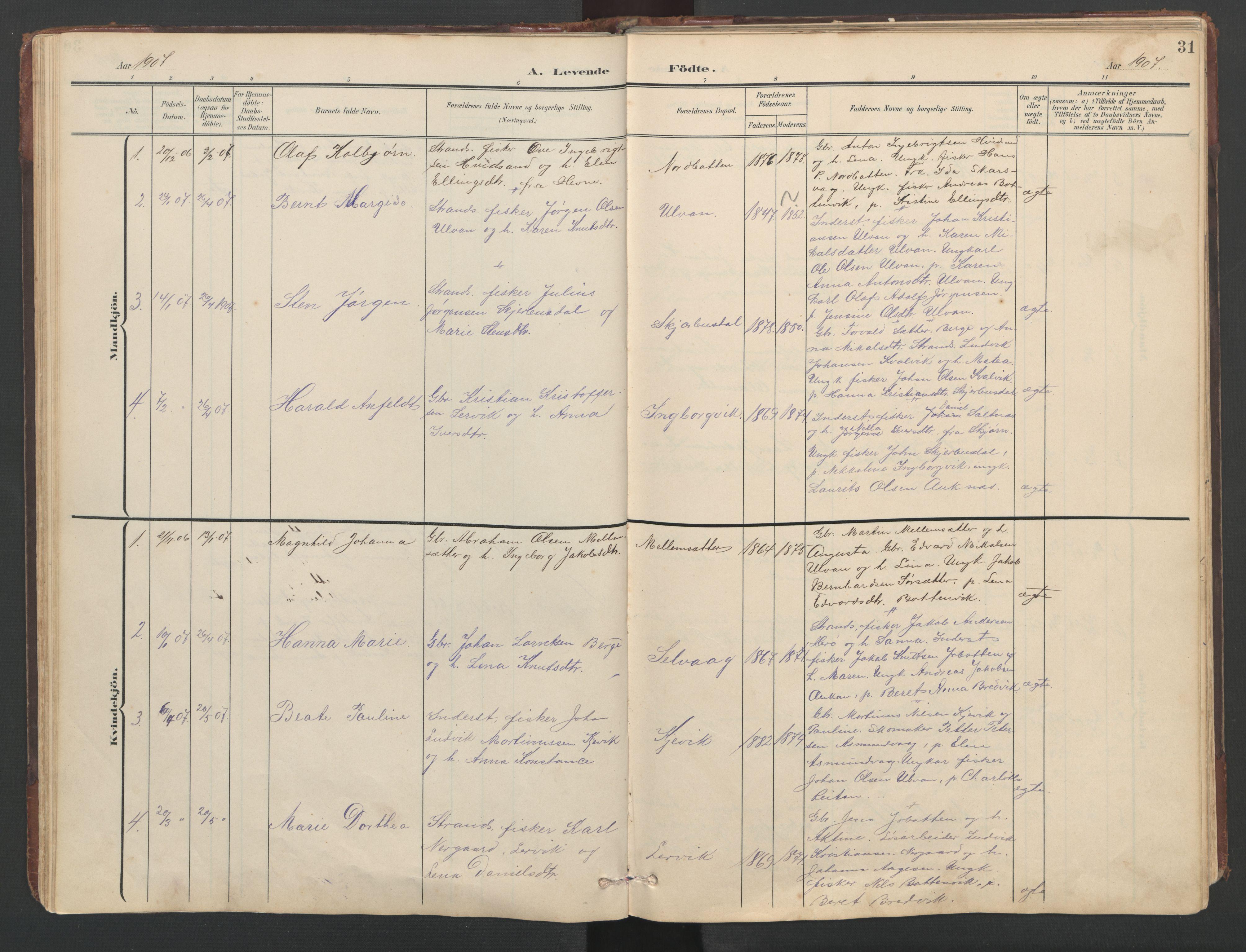 SAT, Ministerialprotokoller, klokkerbøker og fødselsregistre - Sør-Trøndelag, 638/L0571: Klokkerbok nr. 638C03, 1901-1930, s. 31