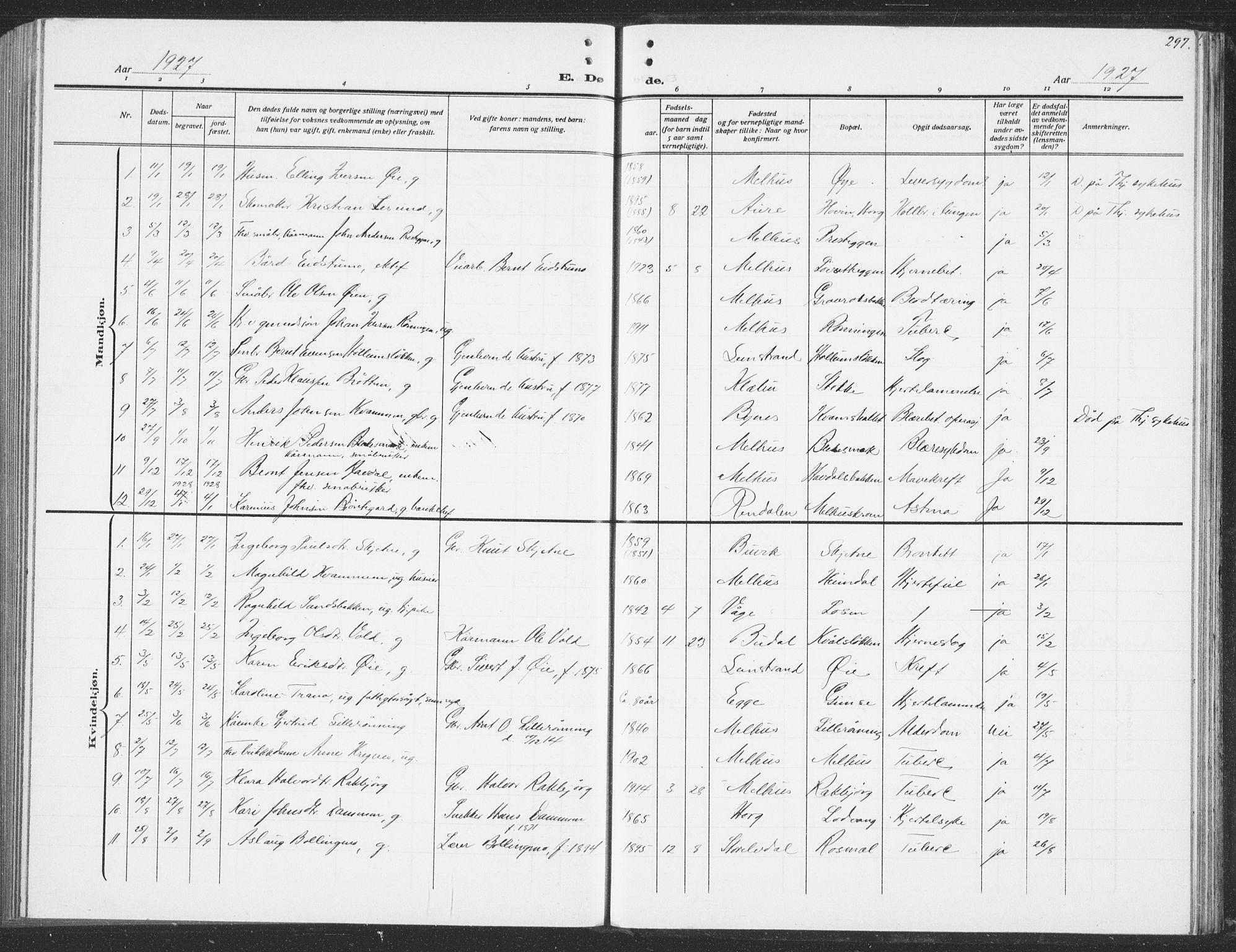 SAT, Ministerialprotokoller, klokkerbøker og fødselsregistre - Sør-Trøndelag, 691/L1095: Klokkerbok nr. 691C06, 1912-1933, s. 297
