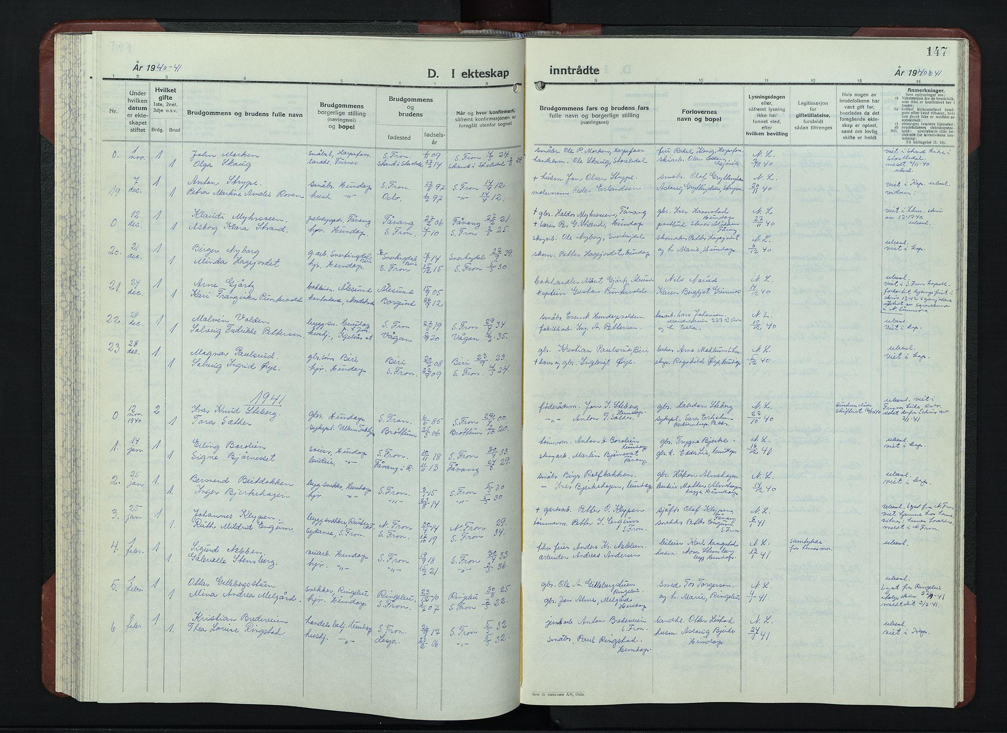 SAH, Sør-Fron prestekontor, H/Ha/Hab/L0006: Klokkerbok nr. 6, 1933-1948, s. 147