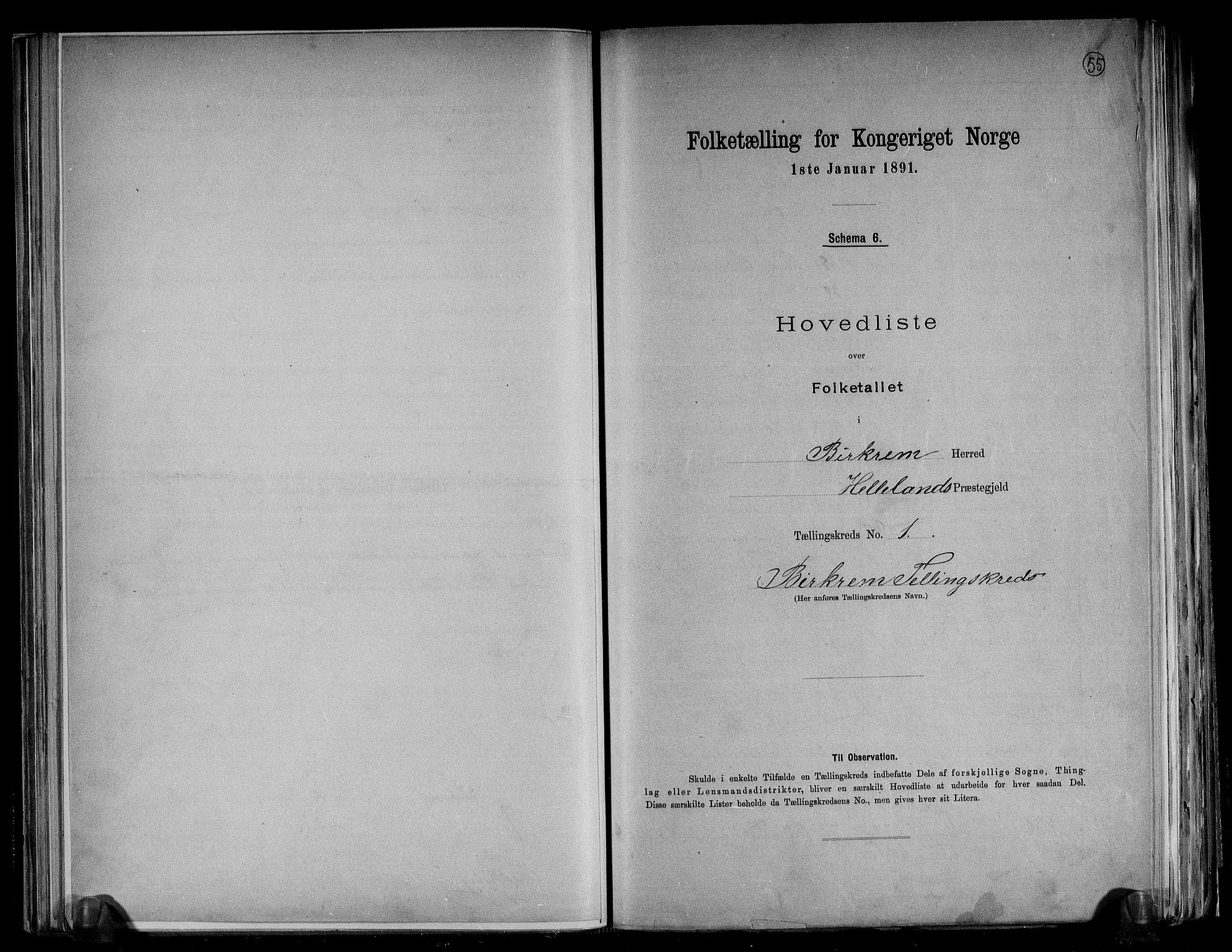 RA, Folketelling 1891 for 1114 Bjerkreim herred, 1891, s. 4