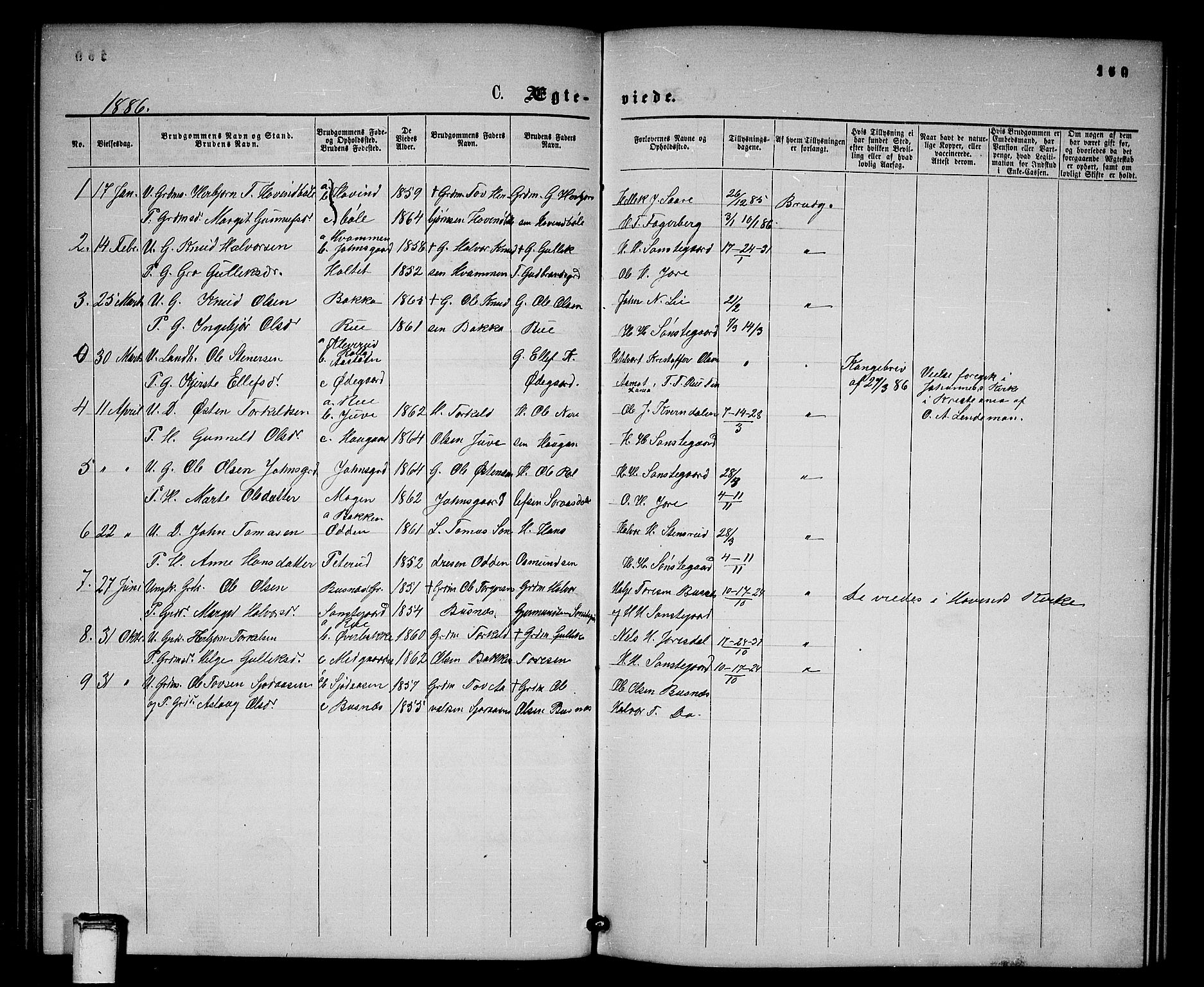 SAKO, Gransherad kirkebøker, G/Gb/L0002: Klokkerbok nr. II 2, 1860-1886, s. 160
