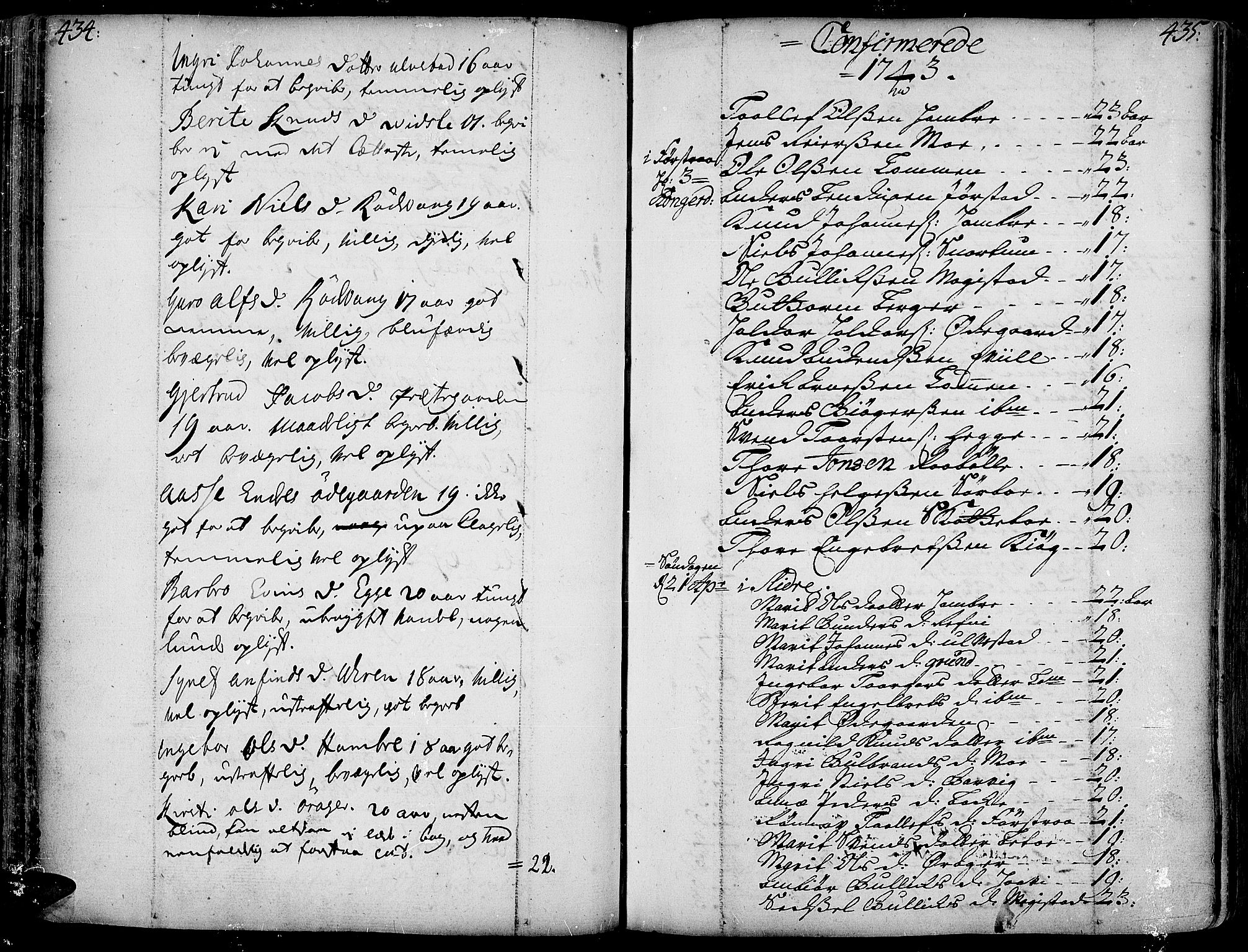 SAH, Slidre prestekontor, Ministerialbok nr. 1, 1724-1814, s. 434-435