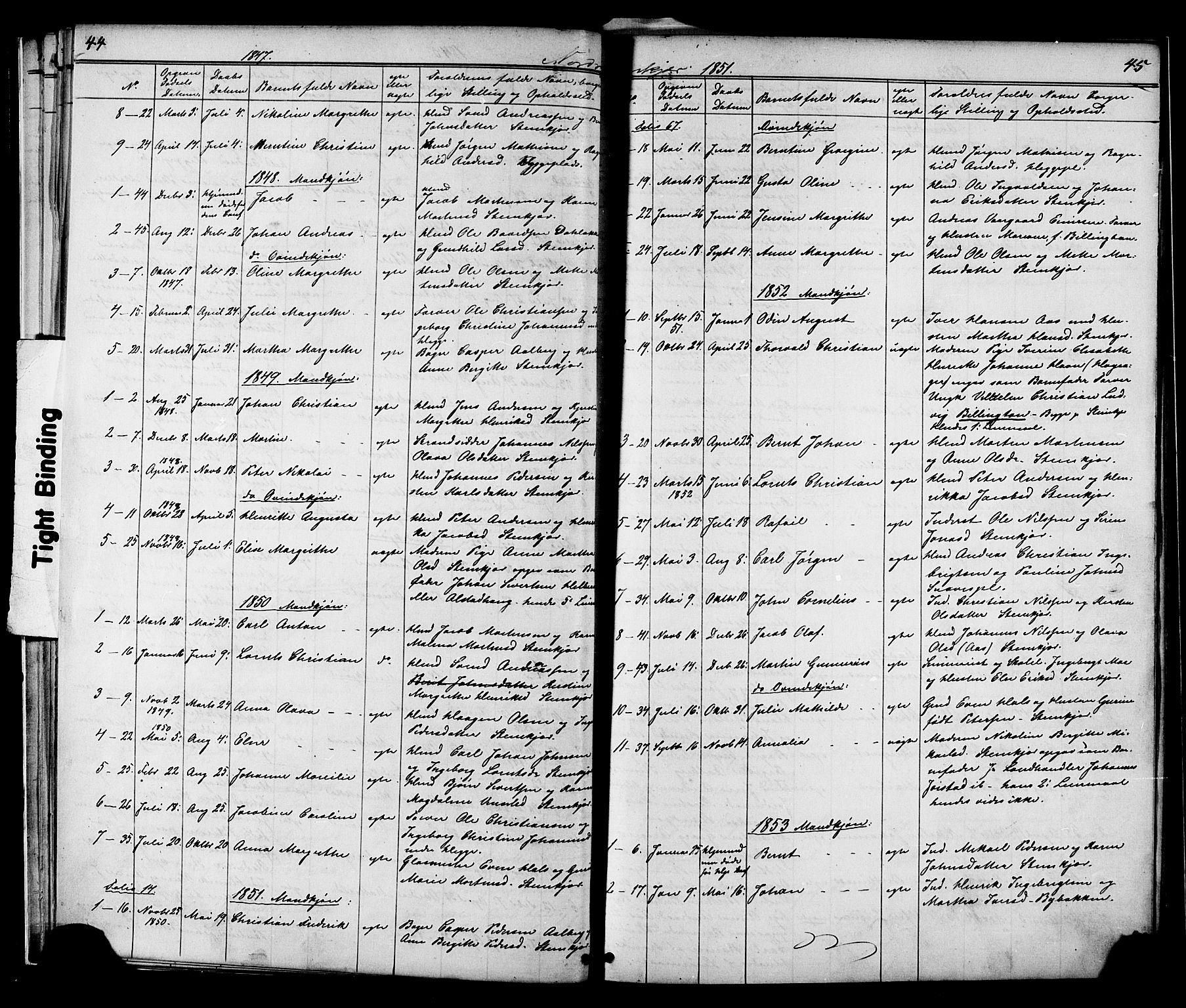 SAT, Ministerialprotokoller, klokkerbøker og fødselsregistre - Nord-Trøndelag, 739/L0367: Ministerialbok nr. 739A01 /2, 1838-1868, s. 44-45