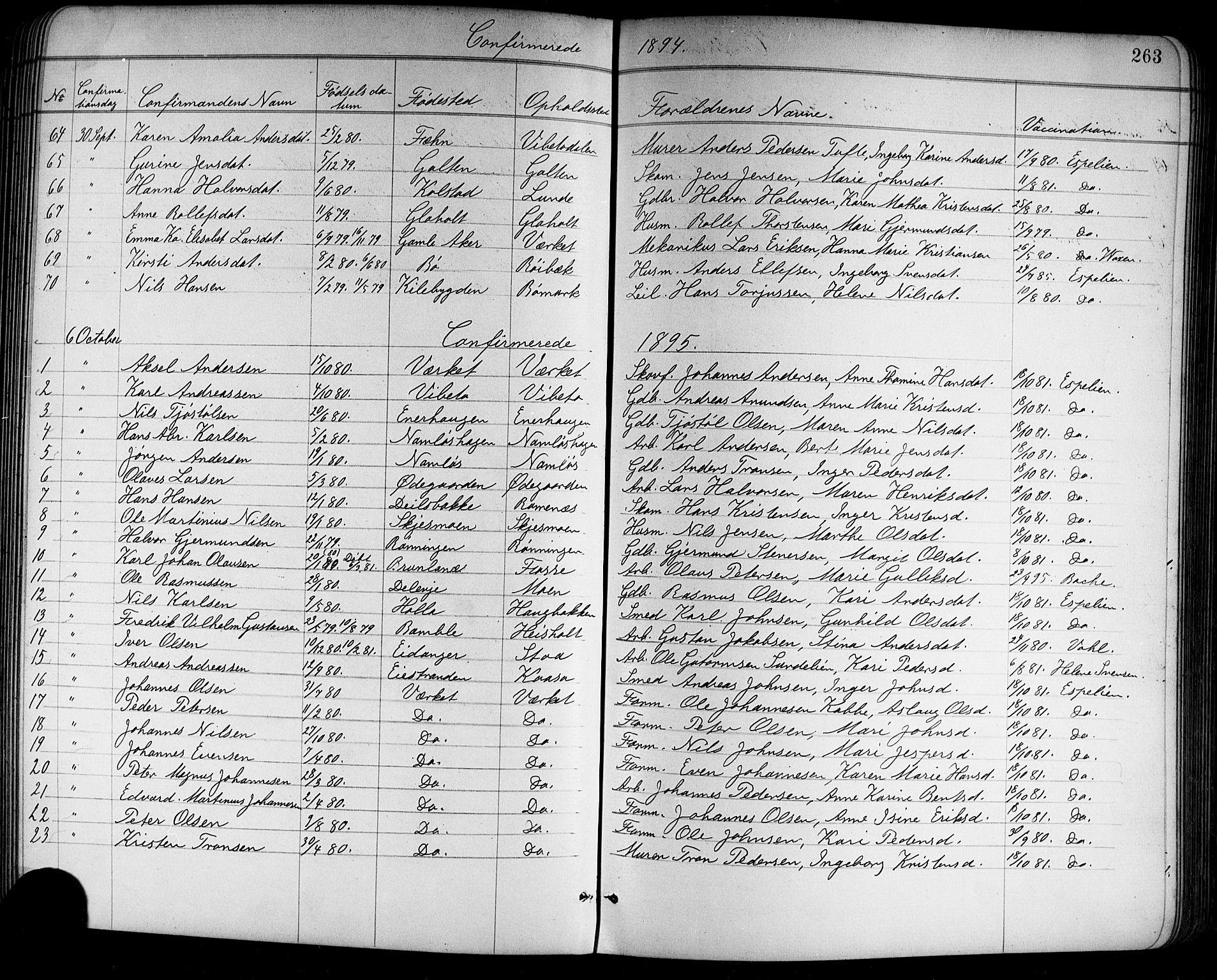 SAKO, Holla kirkebøker, G/Ga/L0005: Klokkerbok nr. I 5, 1891-1917, s. 263