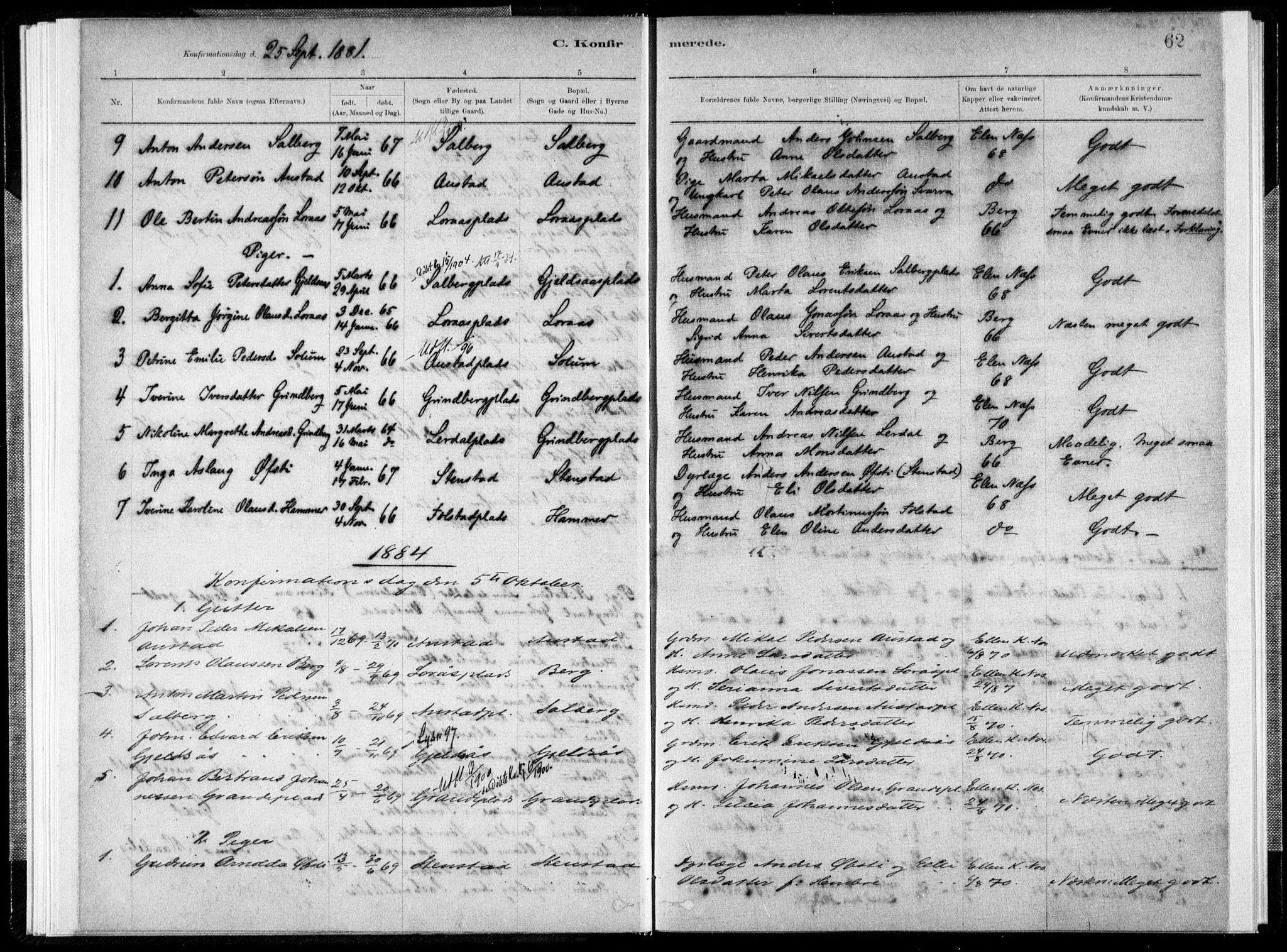 SAT, Ministerialprotokoller, klokkerbøker og fødselsregistre - Nord-Trøndelag, 731/L0309: Ministerialbok nr. 731A01, 1879-1918, s. 62