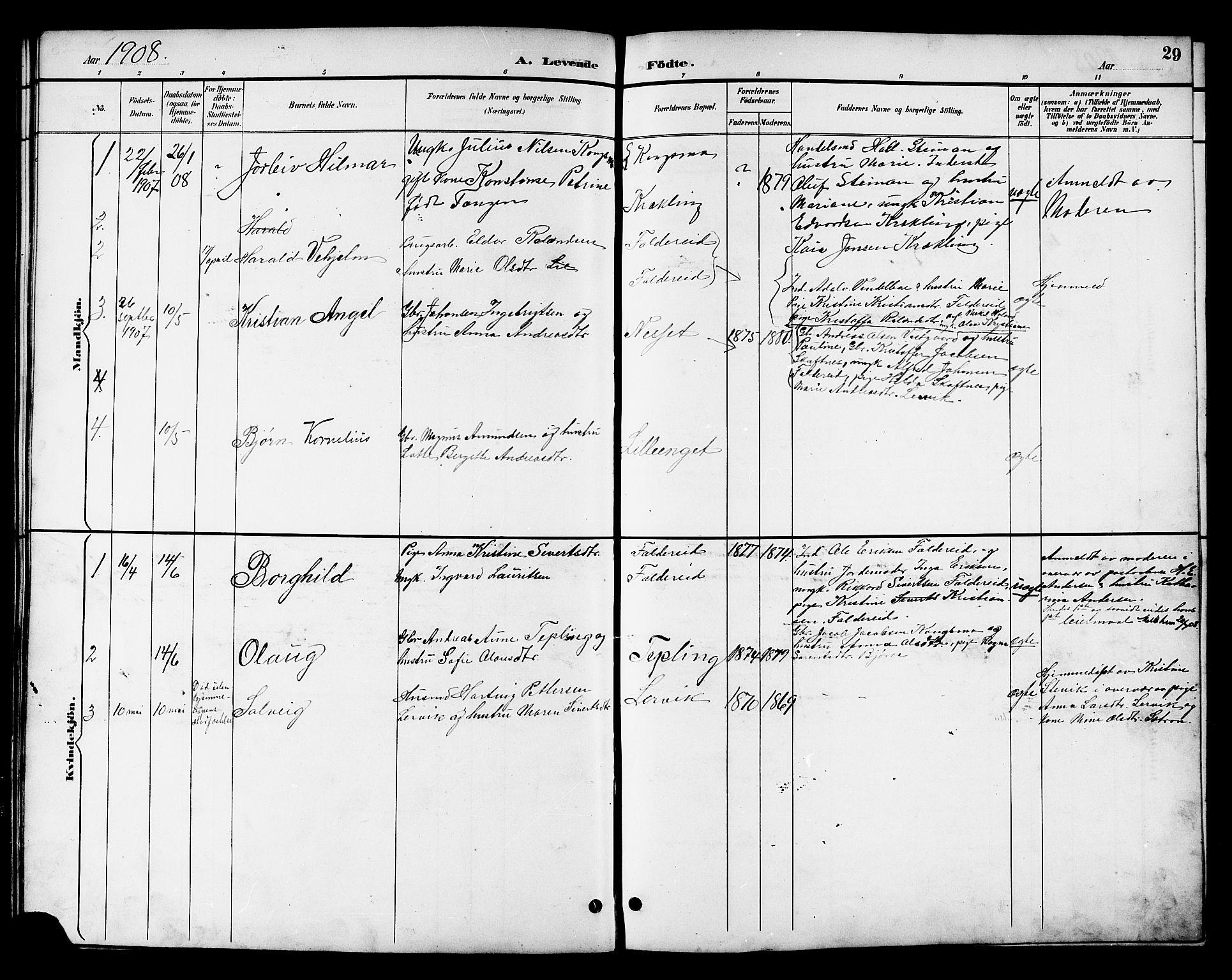 SAT, Ministerialprotokoller, klokkerbøker og fødselsregistre - Nord-Trøndelag, 783/L0662: Klokkerbok nr. 783C02, 1894-1919, s. 29