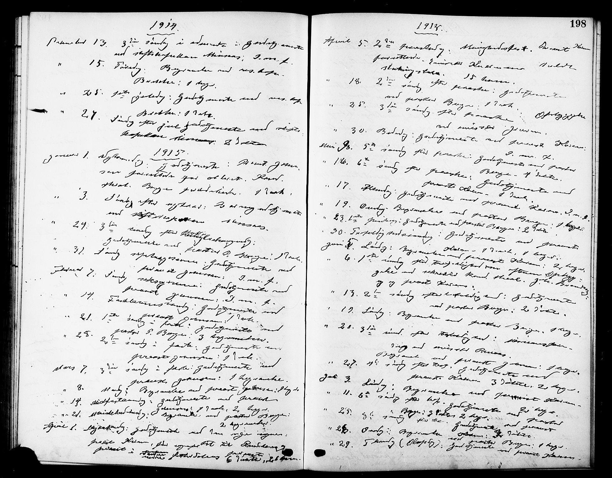 SAT, Ministerialprotokoller, klokkerbøker og fødselsregistre - Sør-Trøndelag, 669/L0831: Klokkerbok nr. 669C01, 1909-1924, s. 198