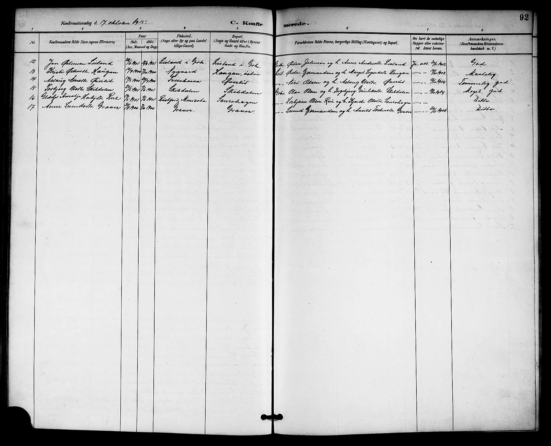 SAKO, Gransherad kirkebøker, G/Gb/L0003: Klokkerbok nr. II 3, 1887-1921, s. 92