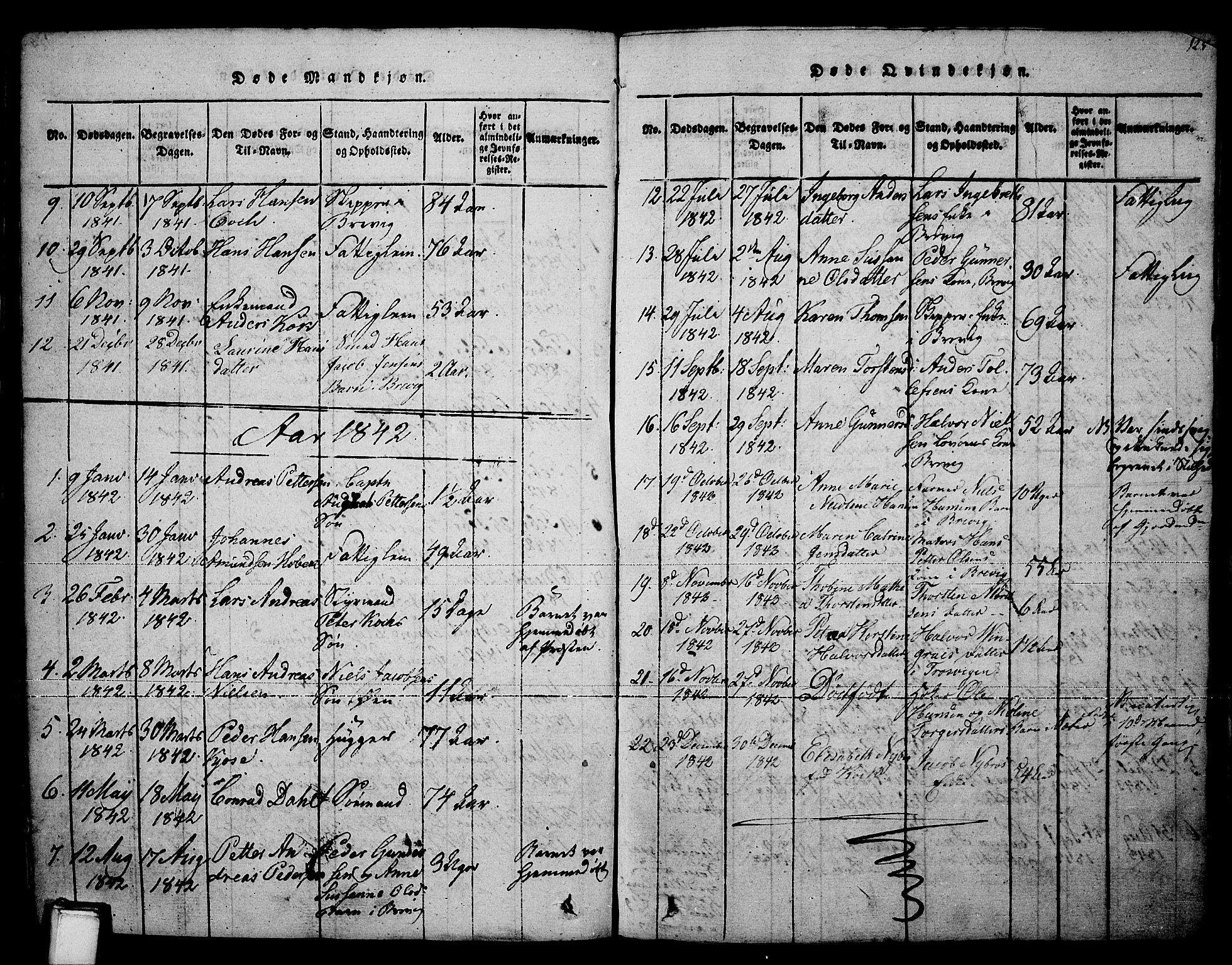 SAKO, Brevik kirkebøker, F/Fa/L0004: Ministerialbok nr. 4, 1814-1846, s. 125