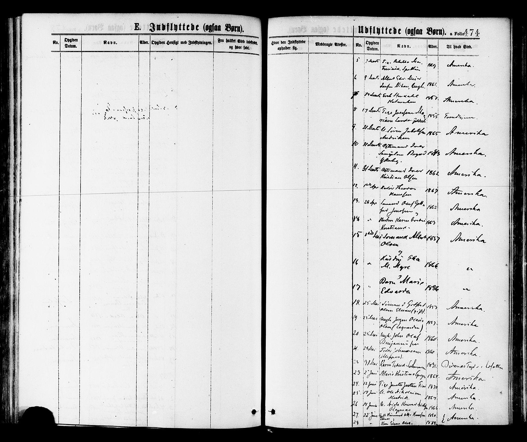 SAT, Ministerialprotokoller, klokkerbøker og fødselsregistre - Nord-Trøndelag, 768/L0572: Ministerialbok nr. 768A07, 1874-1886, s. 474a
