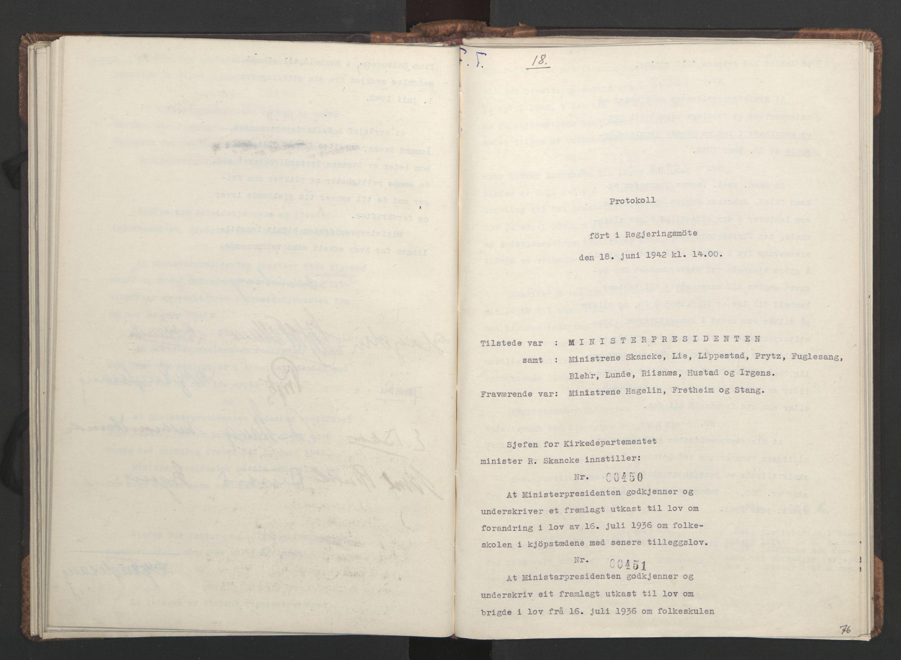 RA, NS-administrasjonen 1940-1945 (Statsrådsekretariatet, de kommisariske statsråder mm), D/Da/L0001: Beslutninger og tillegg (1-952 og 1-32), 1942, s. 75b-76a