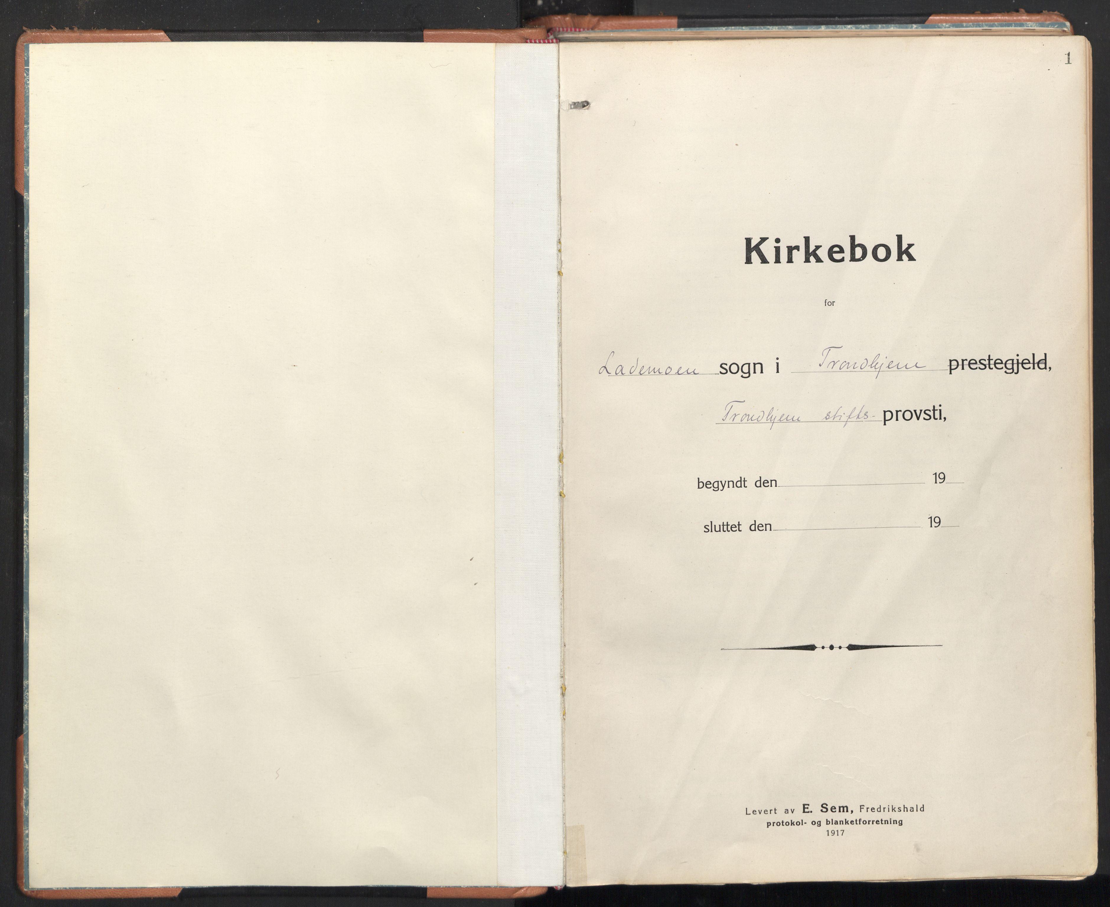 SAT, Ministerialprotokoller, klokkerbøker og fødselsregistre - Sør-Trøndelag, 605/L0248: Ministerialbok nr. 605A10, 1920-1937, s. 1