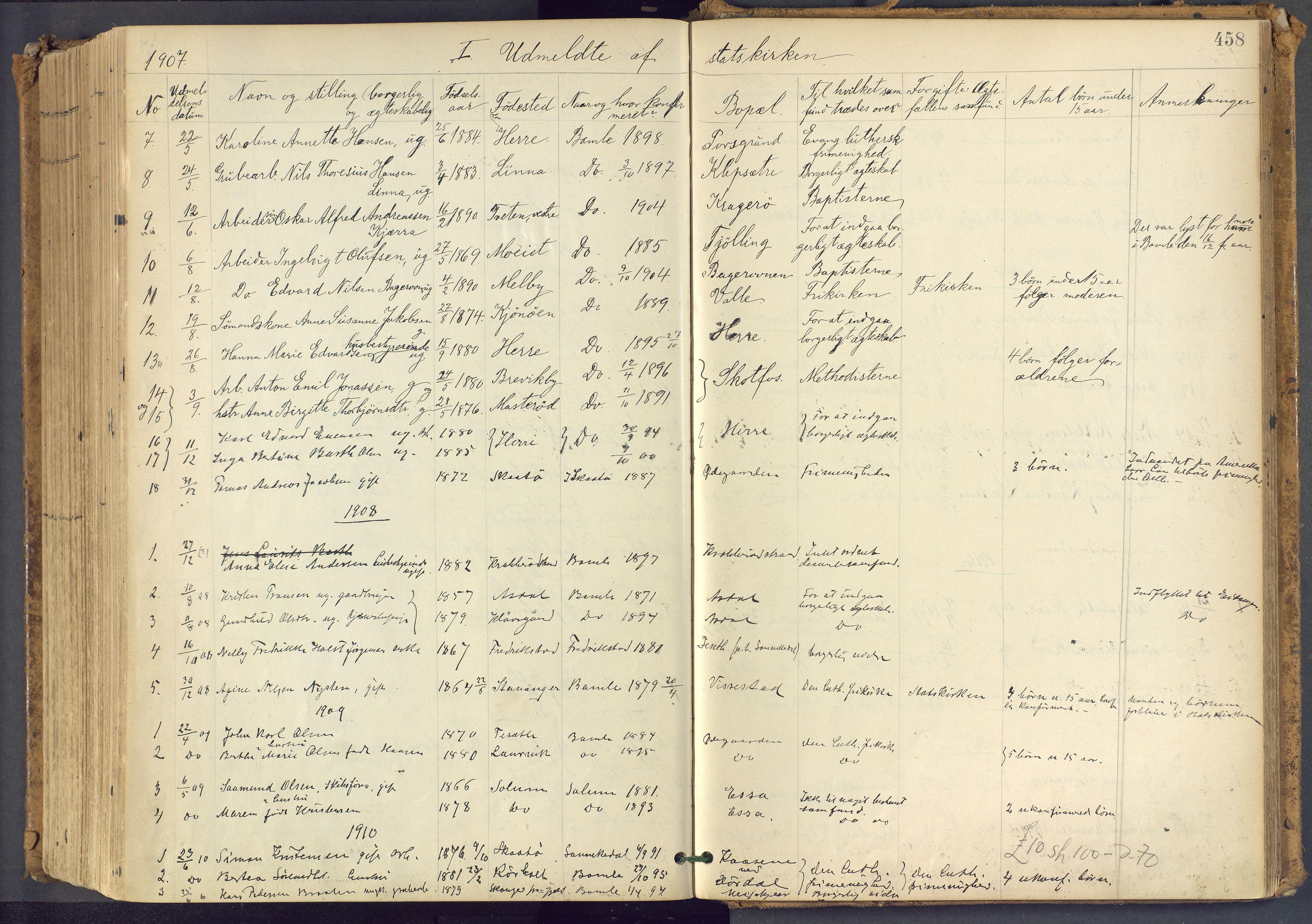 SAKO, Bamble kirkebøker, F/Fa/L0009: Ministerialbok nr. I 9, 1901-1917, s. 458