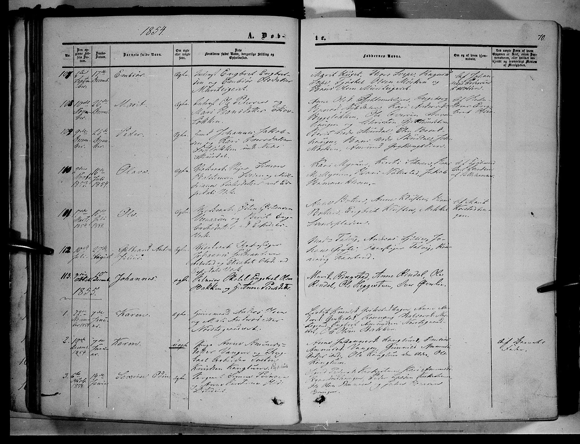 SAH, Sør-Fron prestekontor, H/Ha/Haa/L0001: Ministerialbok nr. 1, 1849-1863, s. 70