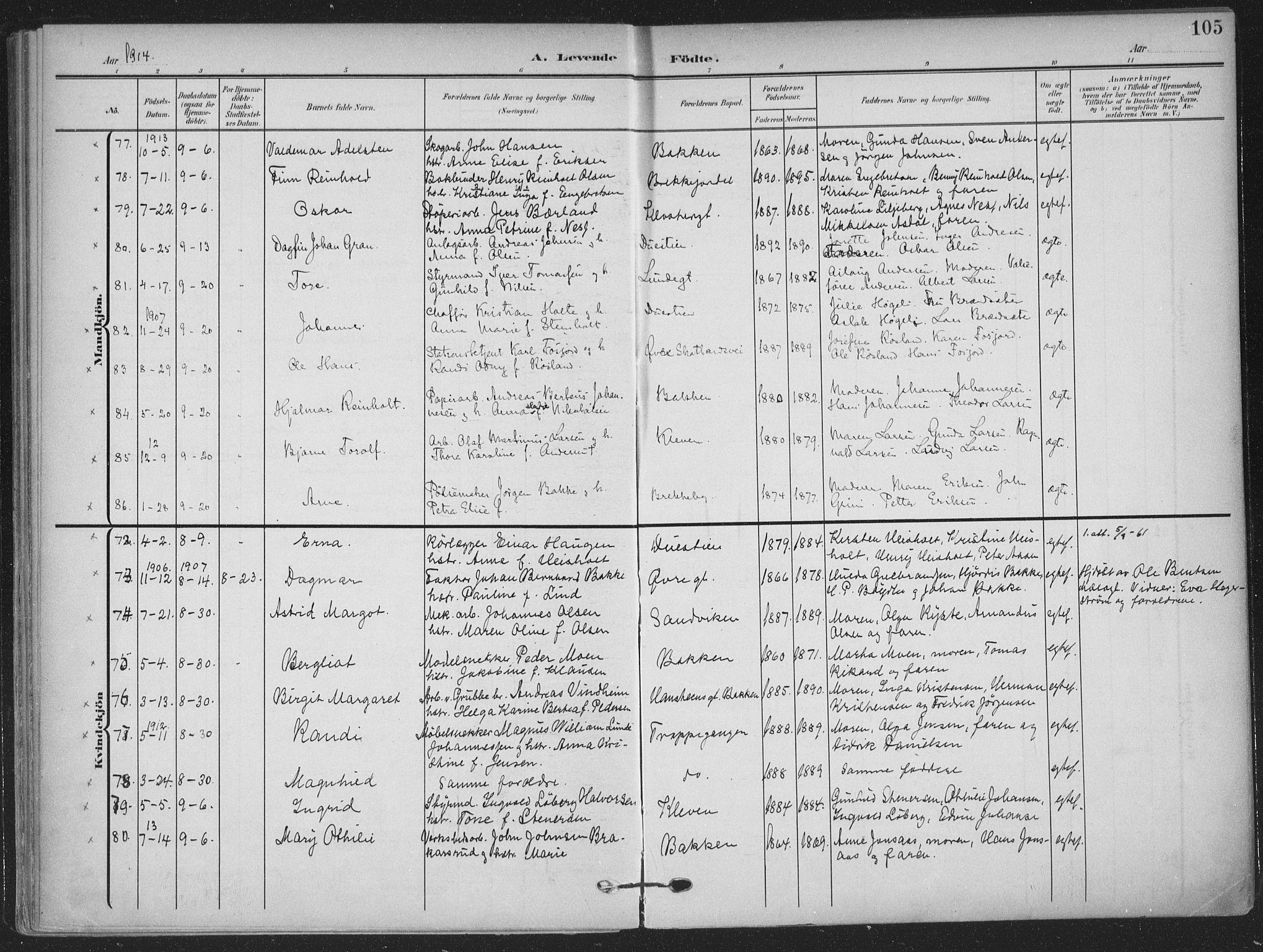 SAKO, Skien kirkebøker, F/Fa/L0012: Ministerialbok nr. 12, 1908-1914, s. 105