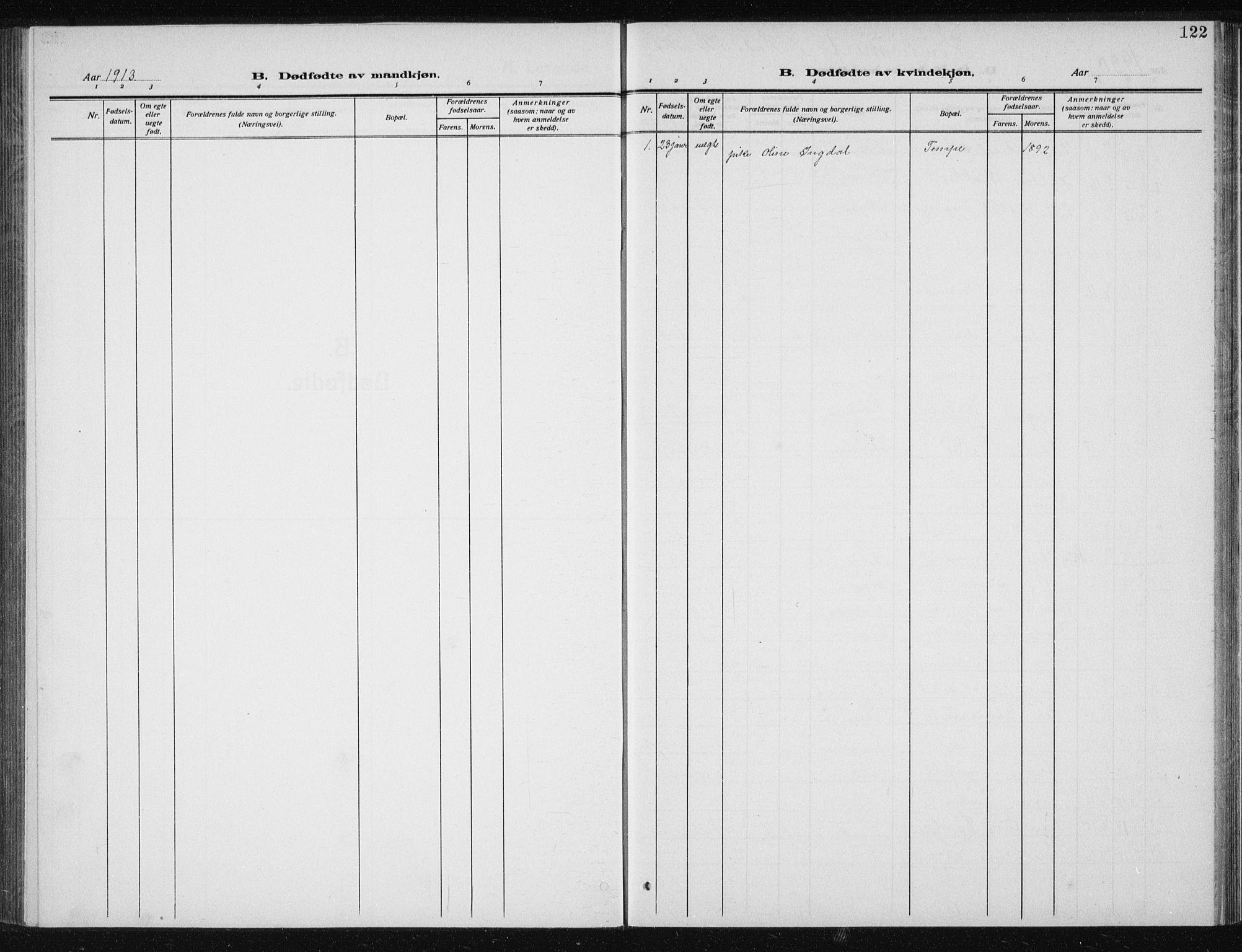SAT, Ministerialprotokoller, klokkerbøker og fødselsregistre - Sør-Trøndelag, 606/L0314: Klokkerbok nr. 606C10, 1911-1937, s. 122