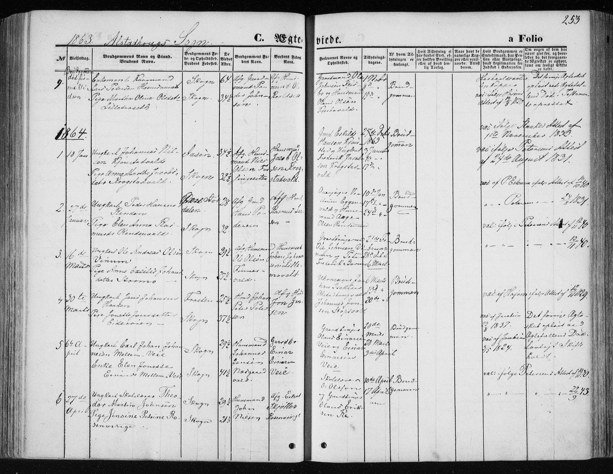 SAT, Ministerialprotokoller, klokkerbøker og fødselsregistre - Nord-Trøndelag, 717/L0157: Ministerialbok nr. 717A08 /1, 1863-1877, s. 253