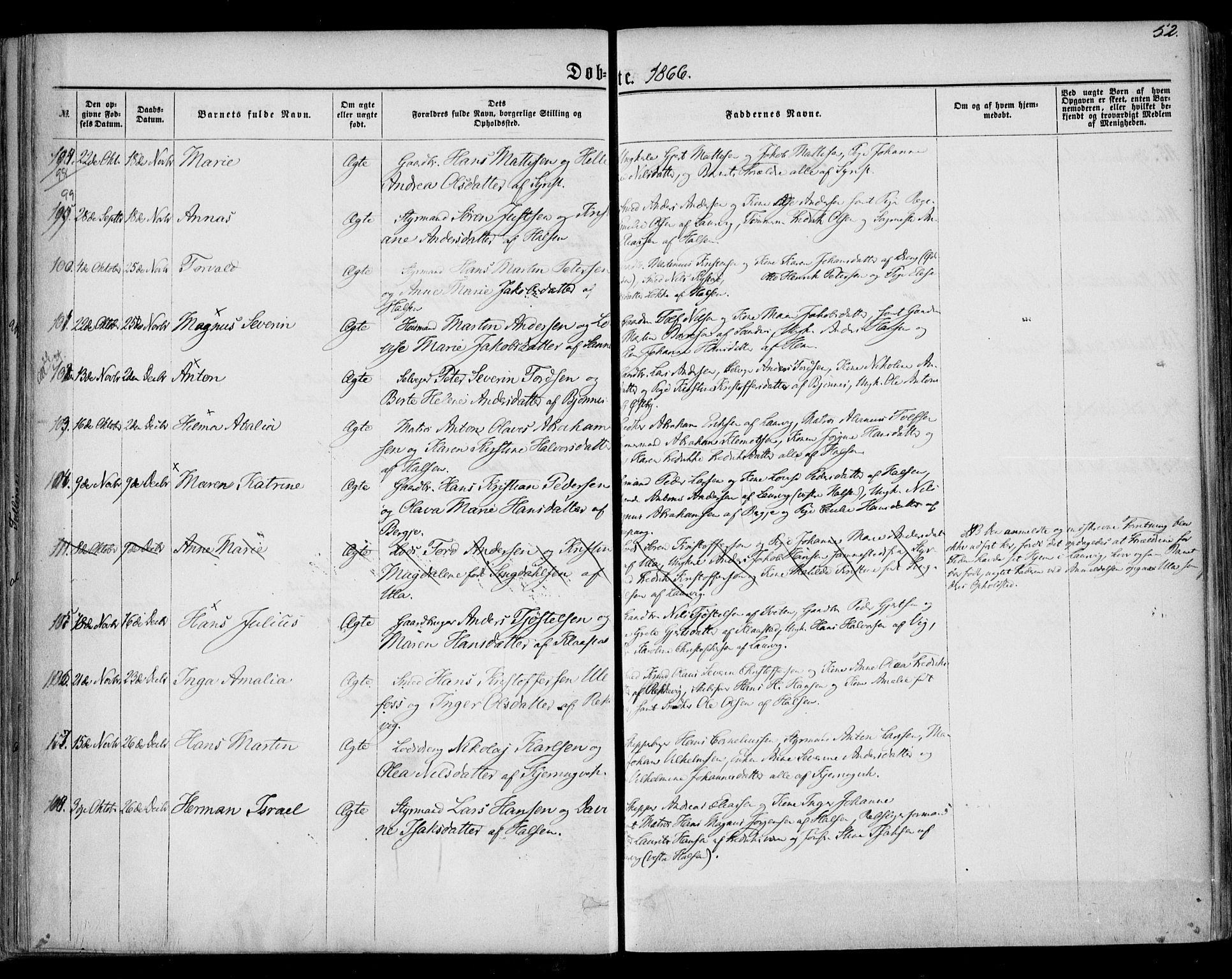 SAKO, Tjølling kirkebøker, F/Fa/L0007: Ministerialbok nr. 7, 1860-1876, s. 52