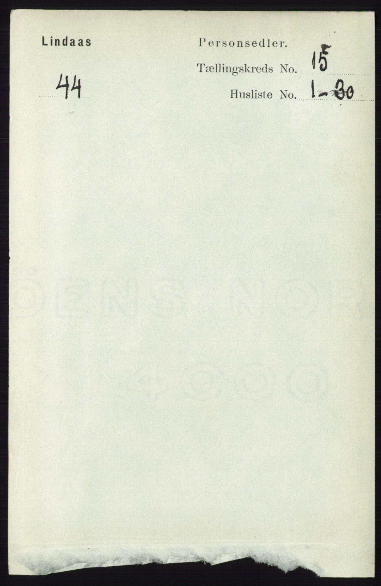 RA, Folketelling 1891 for 1263 Lindås herred, 1891, s. 5274