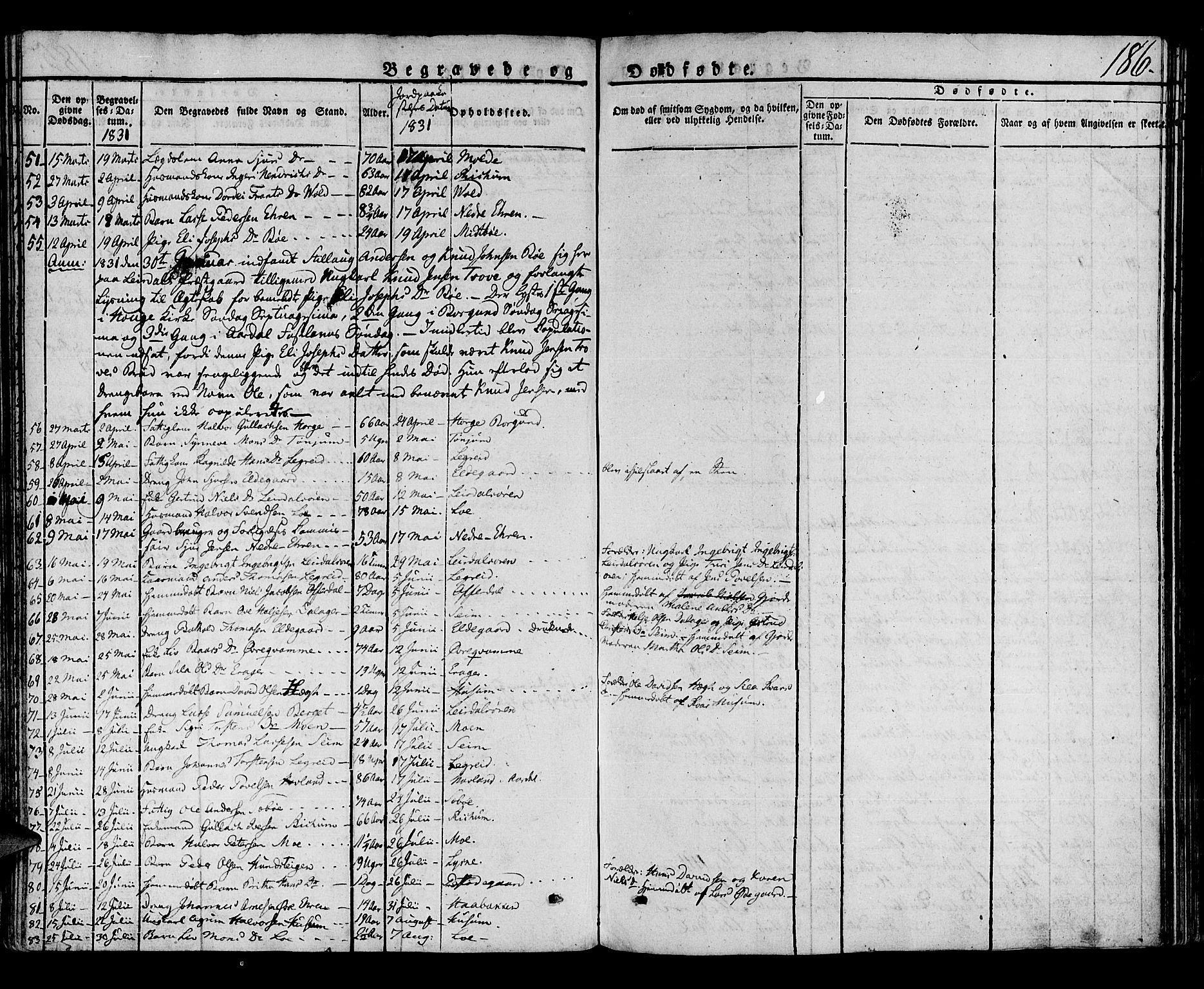 SAB, Lærdal sokneprestembete, Ministerialbok nr. A 5, 1822-1834, s. 186