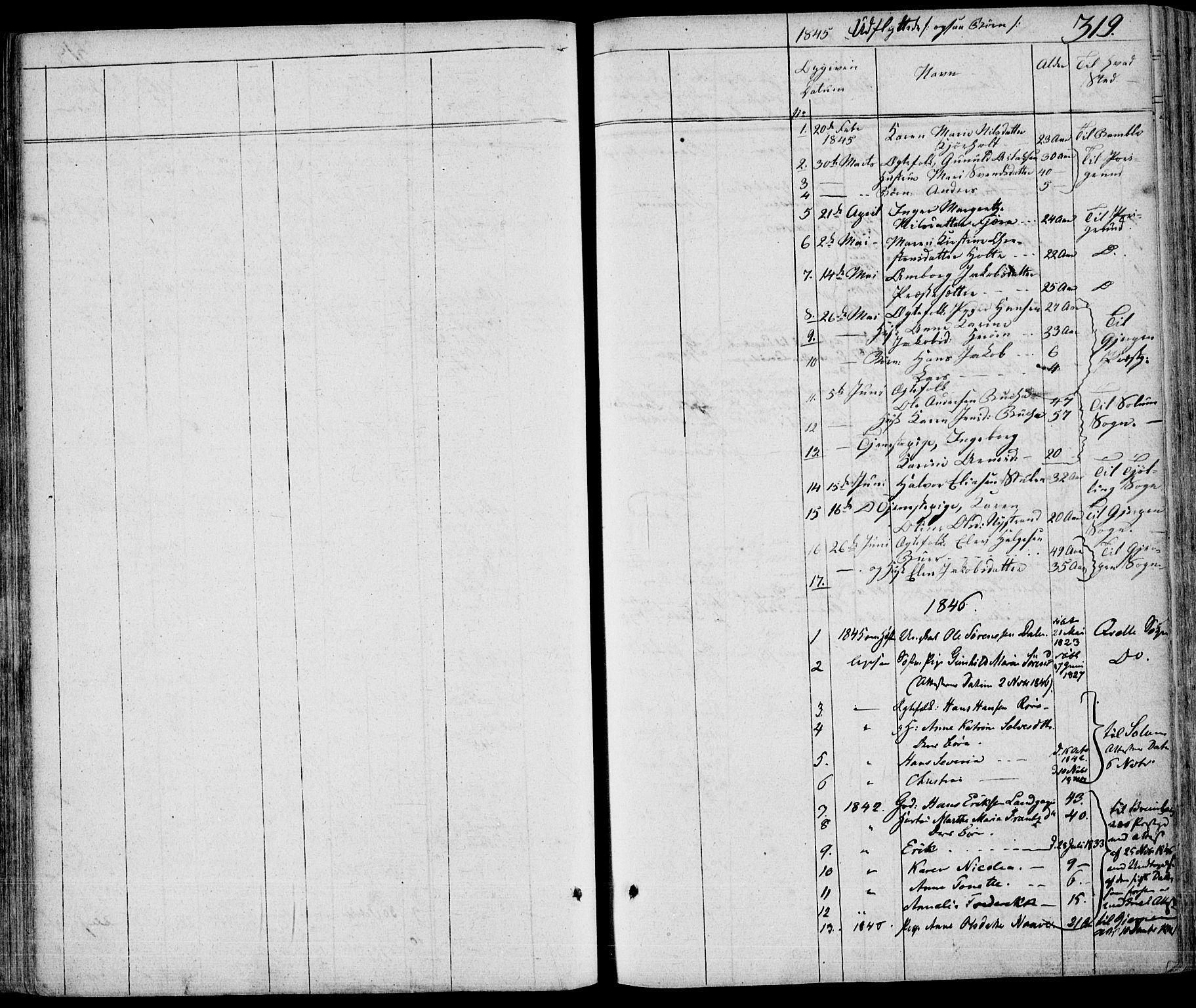 SAKO, Eidanger kirkebøker, F/Fa/L0008: Ministerialbok nr. 8, 1831-1858, s. 319