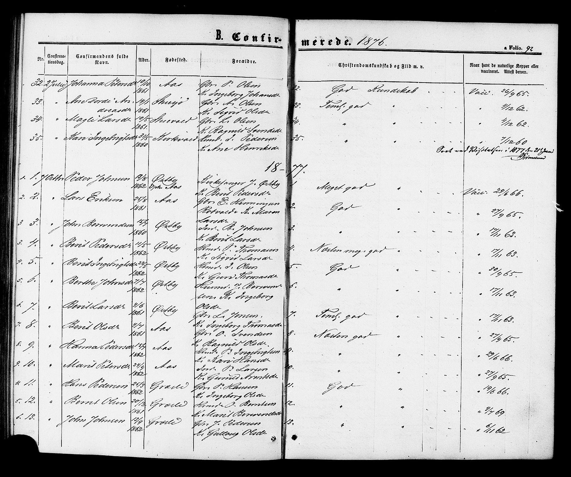 SAT, Ministerialprotokoller, klokkerbøker og fødselsregistre - Sør-Trøndelag, 698/L1163: Ministerialbok nr. 698A01, 1862-1887, s. 92