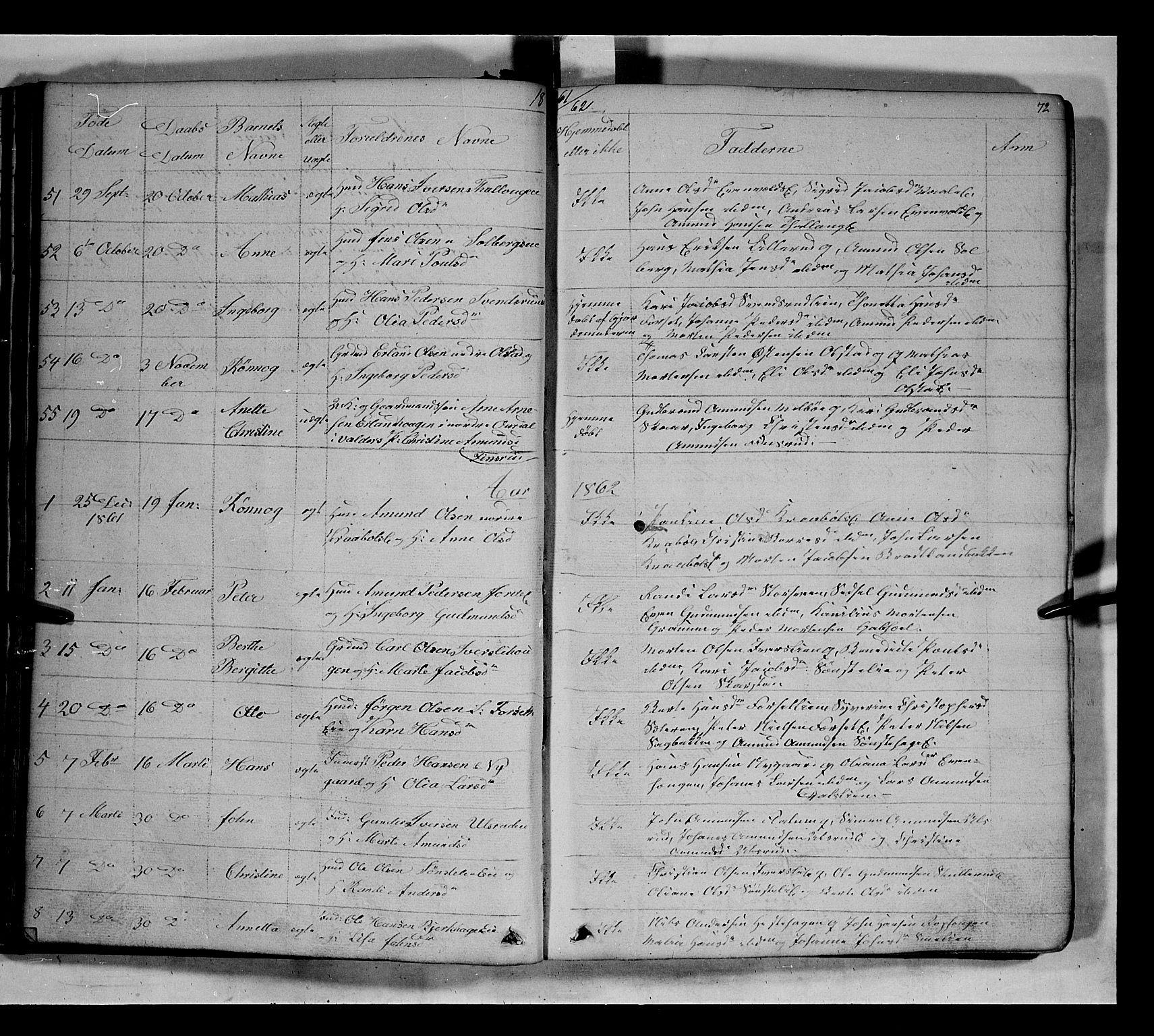 SAH, Gausdal prestekontor, Klokkerbok nr. 5, 1846-1867, s. 72