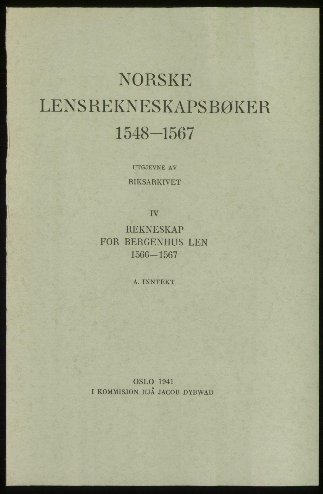 RA, Norske Lensrekneskapsbøker (publikasjon)*, 1566-1567