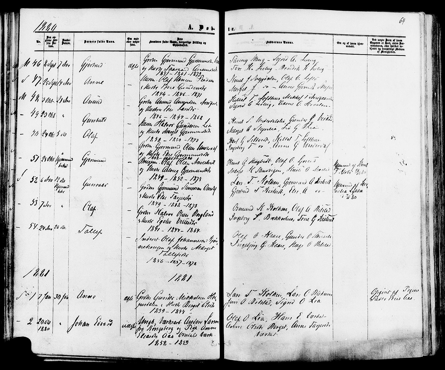 SAKO, Mo kirkebøker, F/Fa/L0006: Ministerialbok nr. I 6, 1865-1885, s. 64