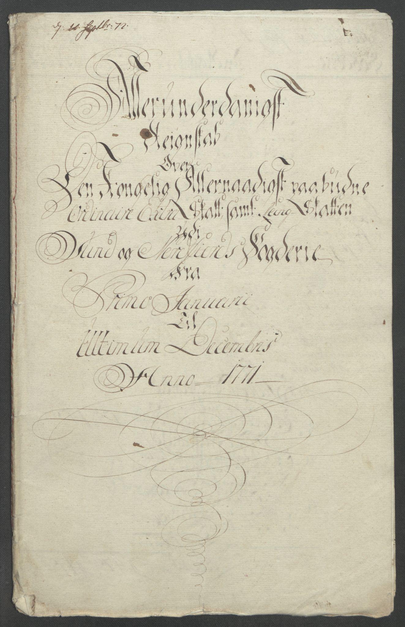 RA, Rentekammeret inntil 1814, Reviderte regnskaper, Fogderegnskap, R53/L3550: Ekstraskatten Sunn- og Nordfjord, 1762-1771, s. 327