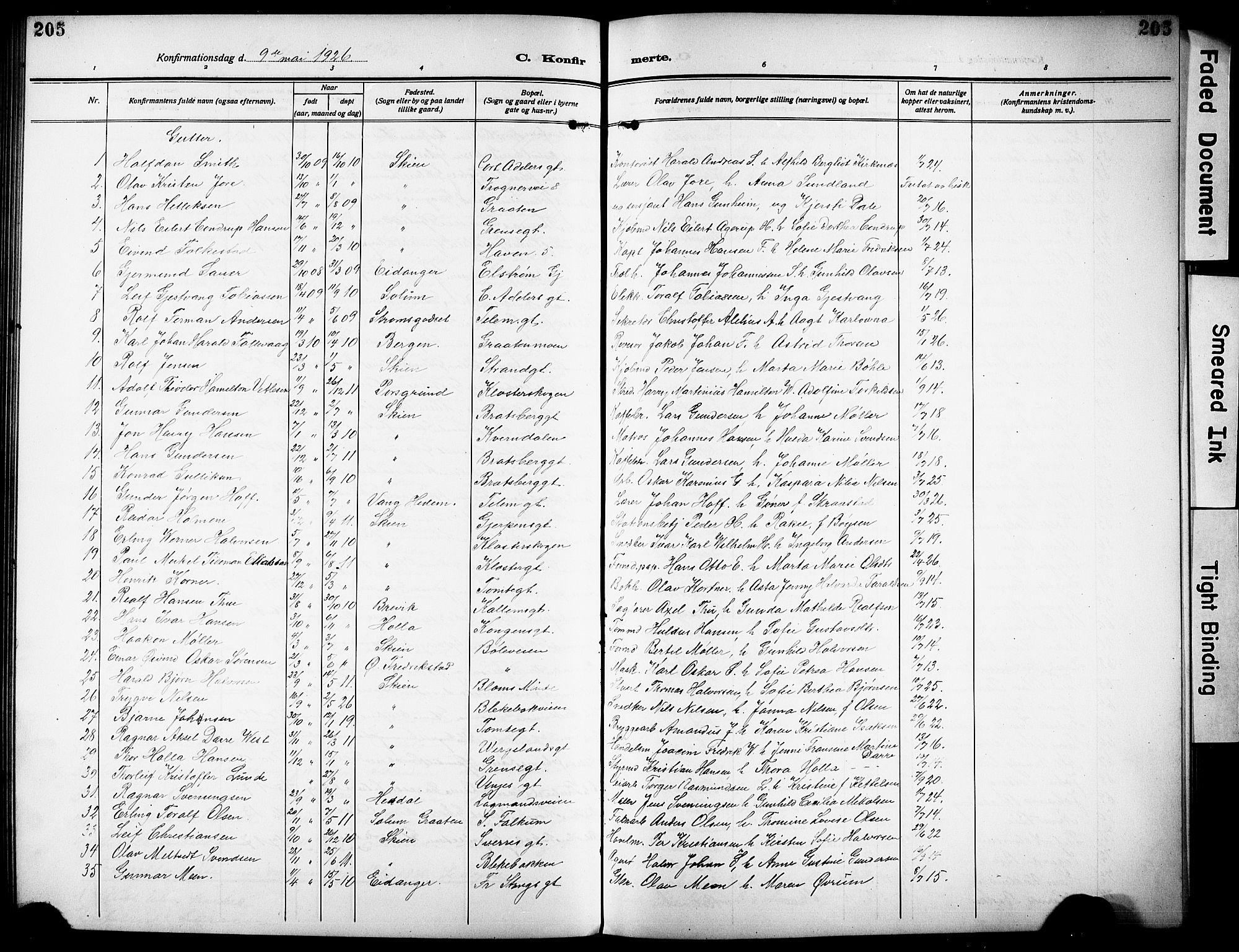 SAKO, Skien kirkebøker, G/Ga/L0010: Klokkerbok nr. 10, 1920-1931, s. 205