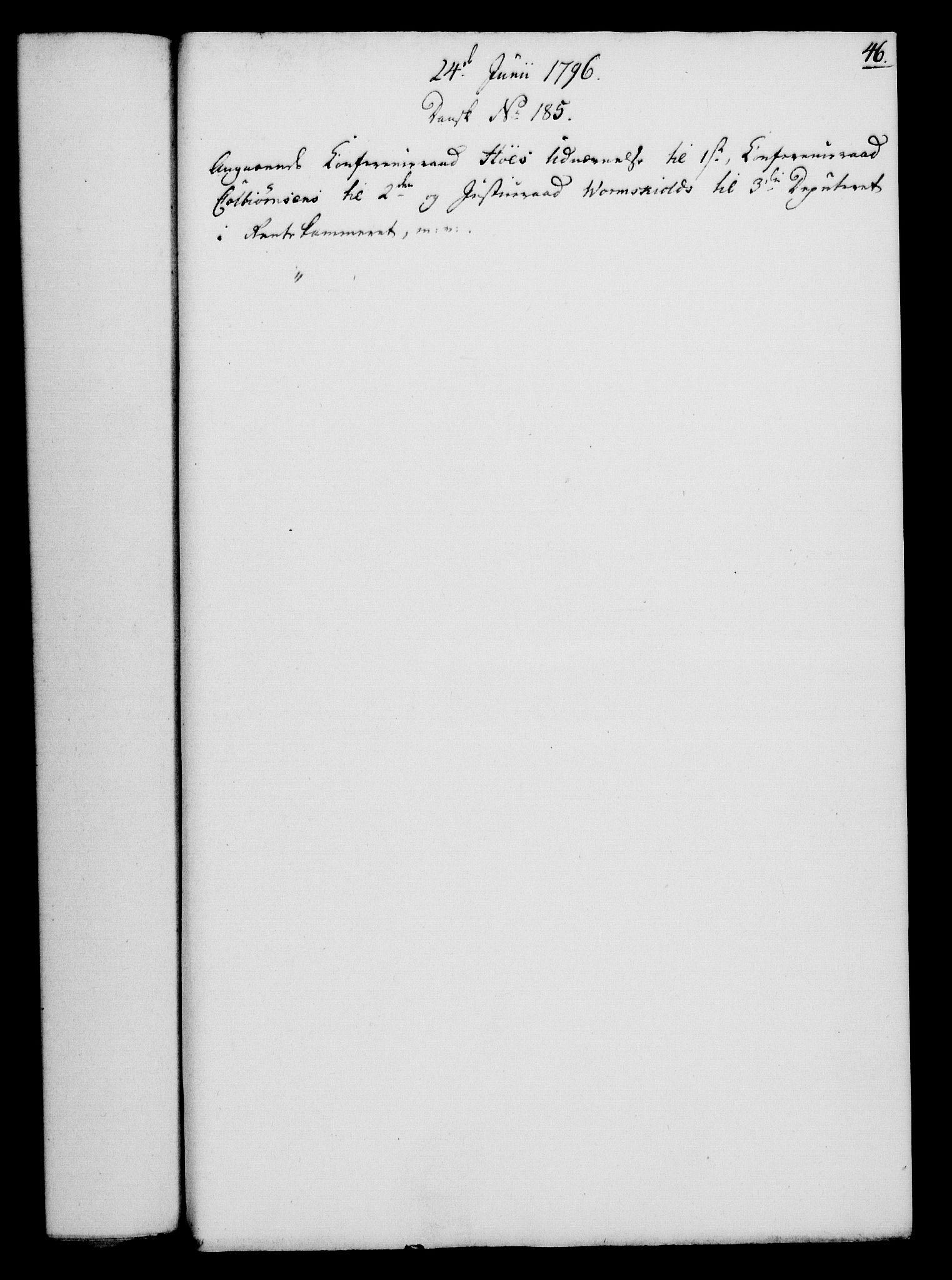 RA, Rentekammeret, Kammerkanselliet, G/Gf/Gfa/L0078: Norsk relasjons- og resolusjonsprotokoll (merket RK 52.78), 1796, s. 254