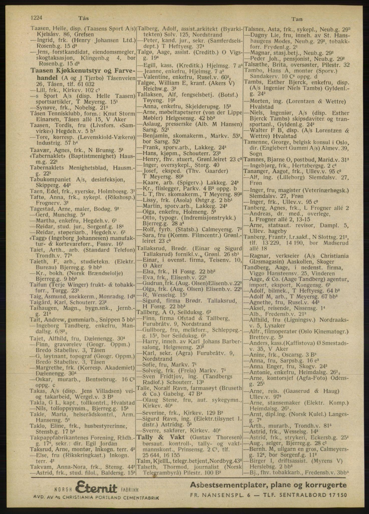 RA, Oslo adressebok (publikasjon)*, 1946, s. 1224