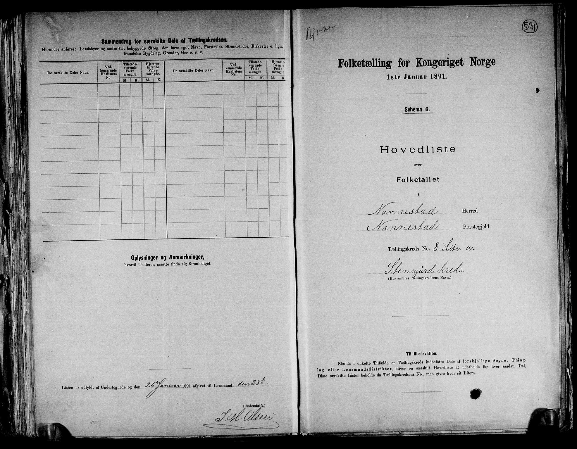 RA, Folketelling 1891 for 0238 Nannestad herred, 1891, s. 25