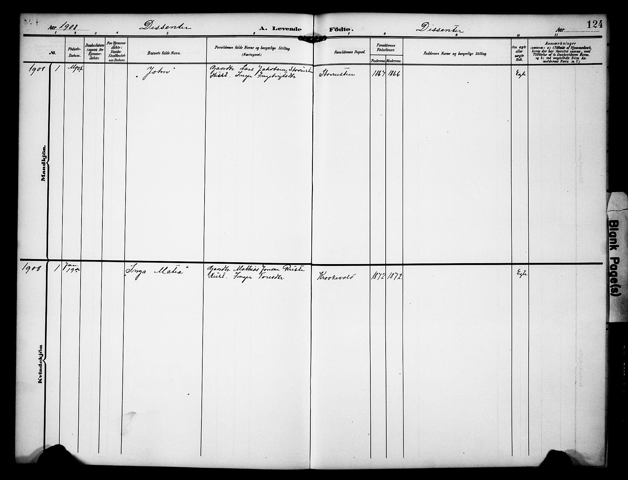 SAH, Dovre prestekontor, Klokkerbok nr. 3, 1907-1929, s. 124