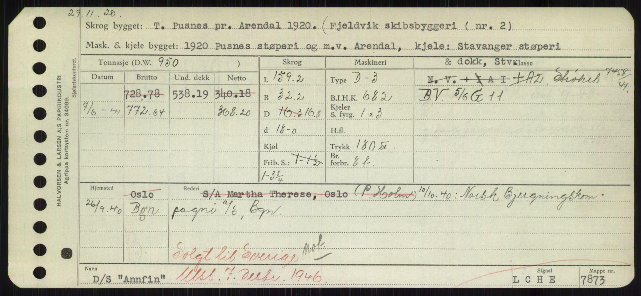 RA, Sjøfartsdirektoratet med forløpere, Skipsmålingen, H/Hd/L0001: Fartøy, A-Anv, s. 761