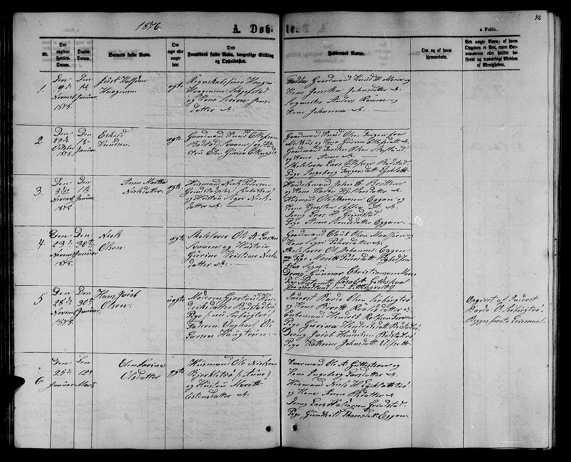 SAT, Ministerialprotokoller, klokkerbøker og fødselsregistre - Sør-Trøndelag, 618/L0451: Klokkerbok nr. 618C02, 1865-1883, s. 42