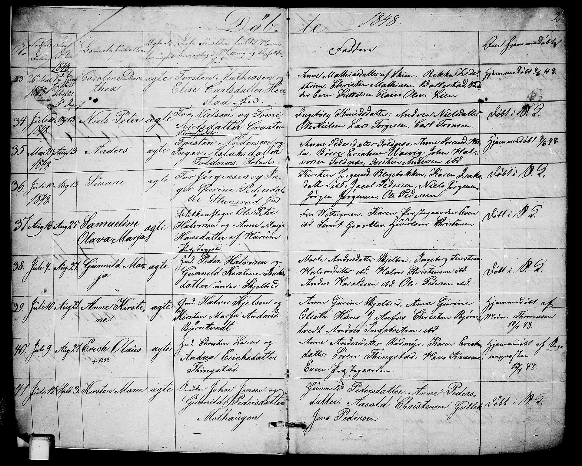 SAKO, Solum kirkebøker, G/Ga/L0003: Klokkerbok nr. I 3, 1848-1859, s. 2