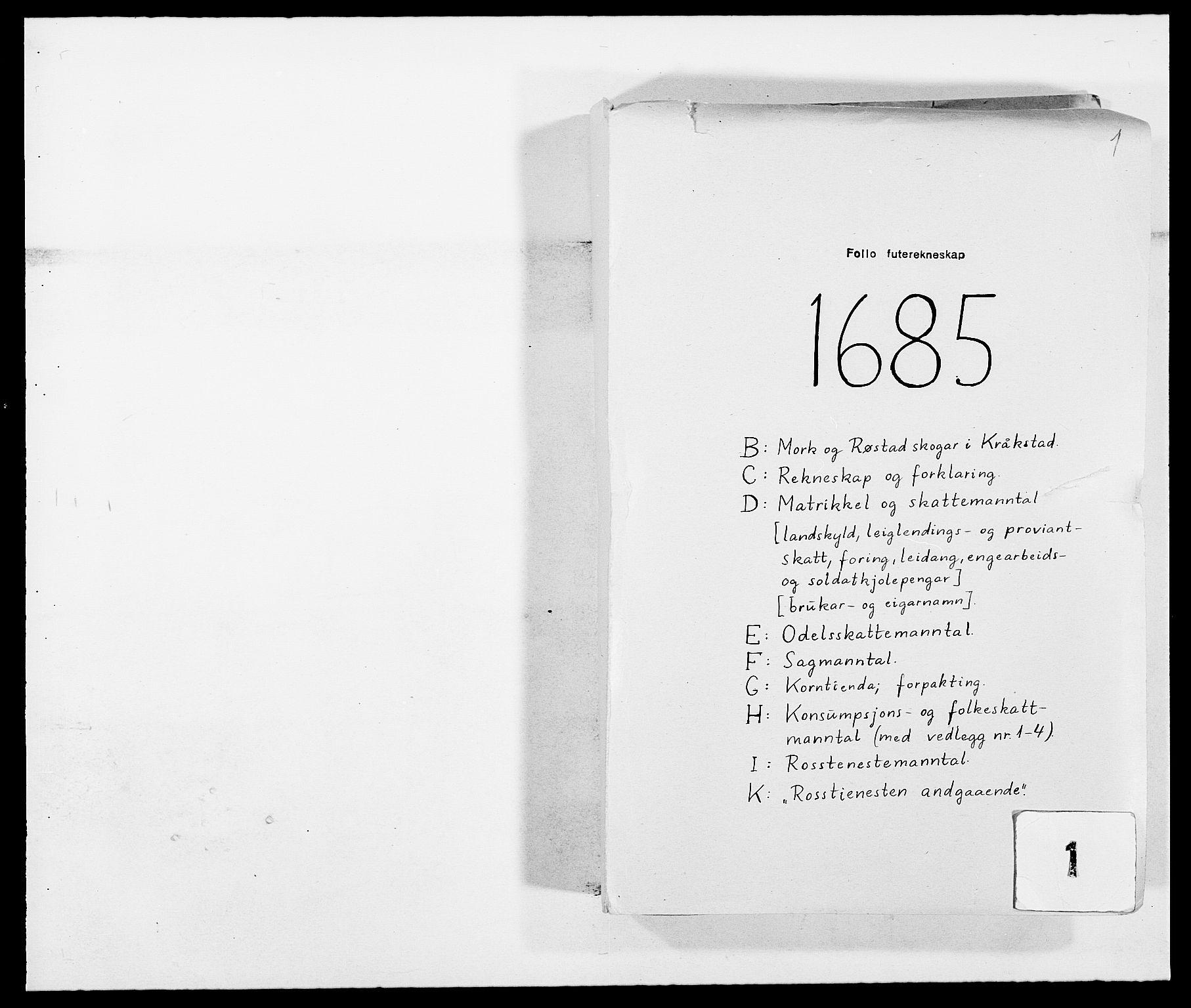 RA, Rentekammeret inntil 1814, Reviderte regnskaper, Fogderegnskap, R09/L0433: Fogderegnskap Follo, 1685-1686, s. 1