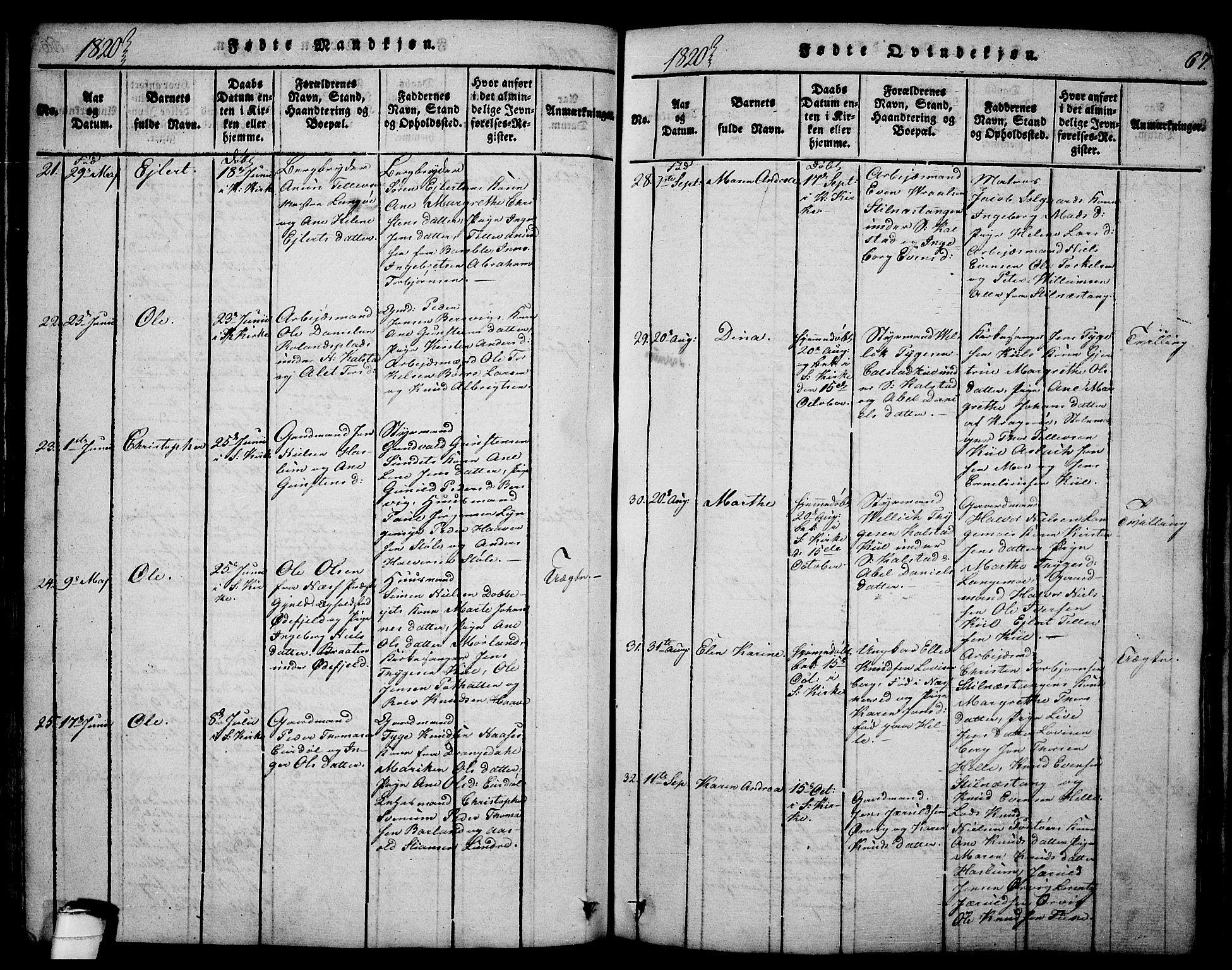 SAKO, Sannidal kirkebøker, F/Fa/L0004: Ministerialbok nr. 4, 1814-1829, s. 67