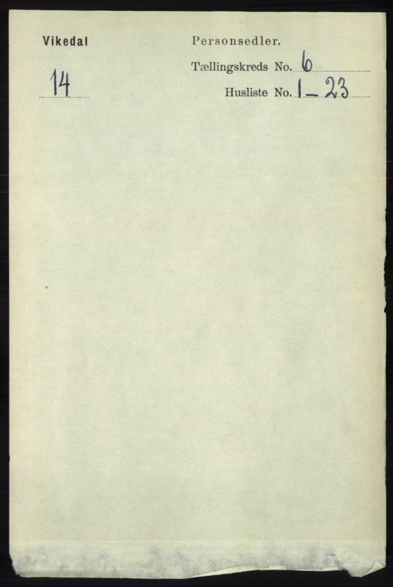 RA, Folketelling 1891 for 1157 Vikedal herred, 1891, s. 1570