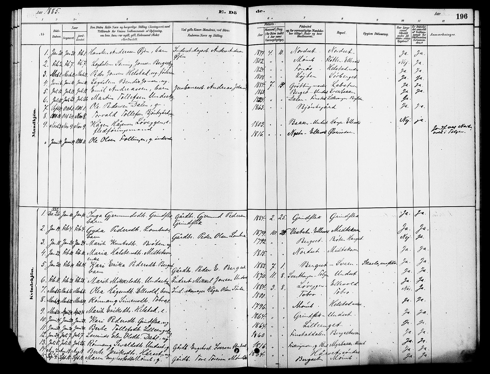 SAH, Rendalen prestekontor, H/Ha/Hab/L0003: Klokkerbok nr. 3, 1879-1904, s. 196