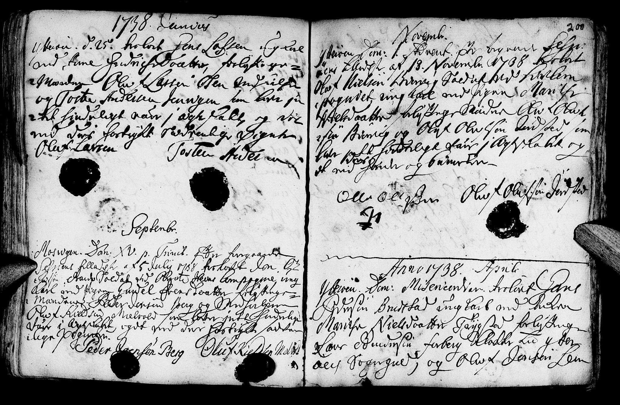 SAT, Ministerialprotokoller, klokkerbøker og fødselsregistre - Nord-Trøndelag, 722/L0215: Ministerialbok nr. 722A02, 1718-1755, s. 200