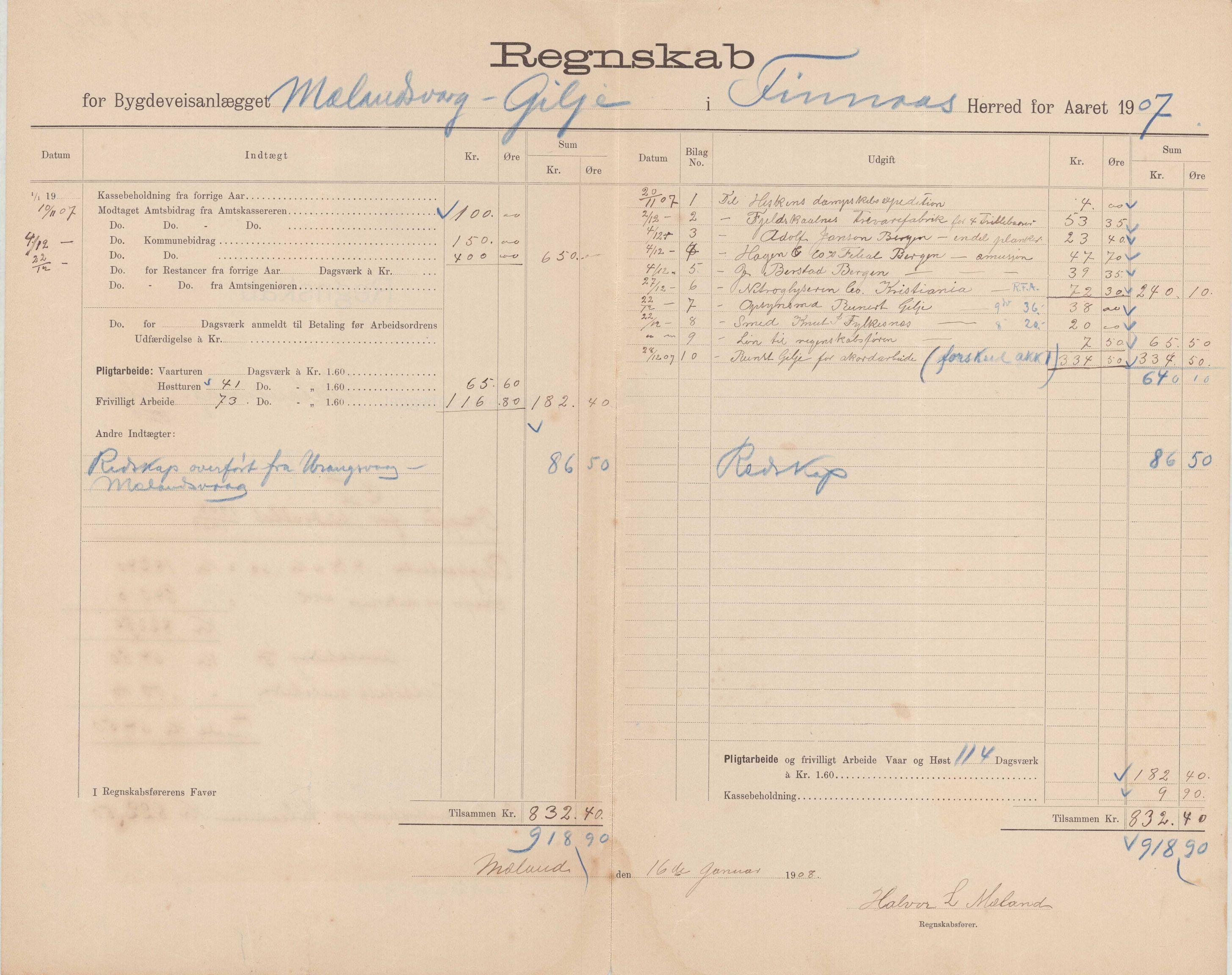 IKAH, Finnaas kommune. Formannskapet, E/Ea/L0001: Rekneskap for veganlegg, 1907-1910, s. 5
